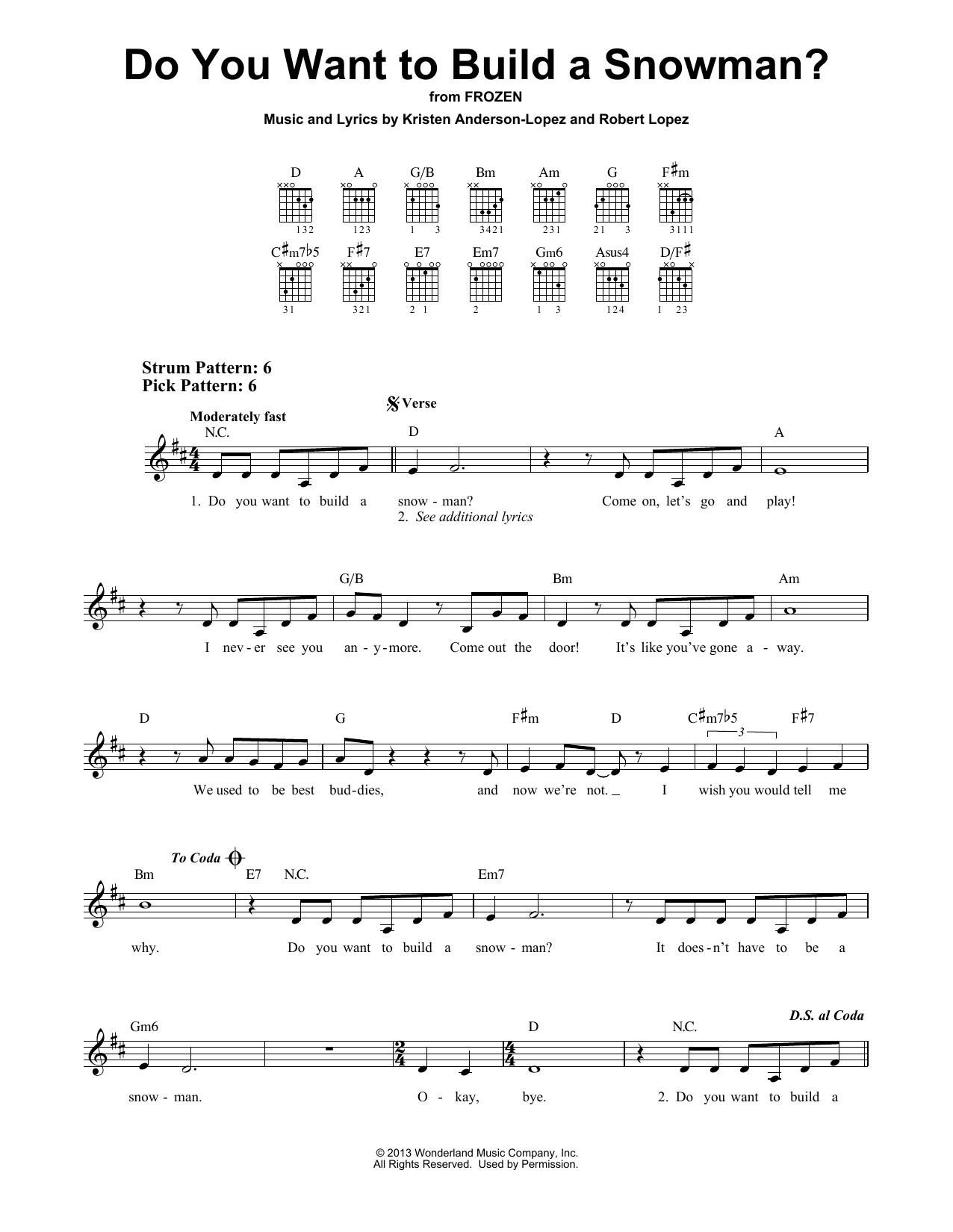 Do You Want To Build A Snowman? (from Disney's Frozen) (Easy Guitar)