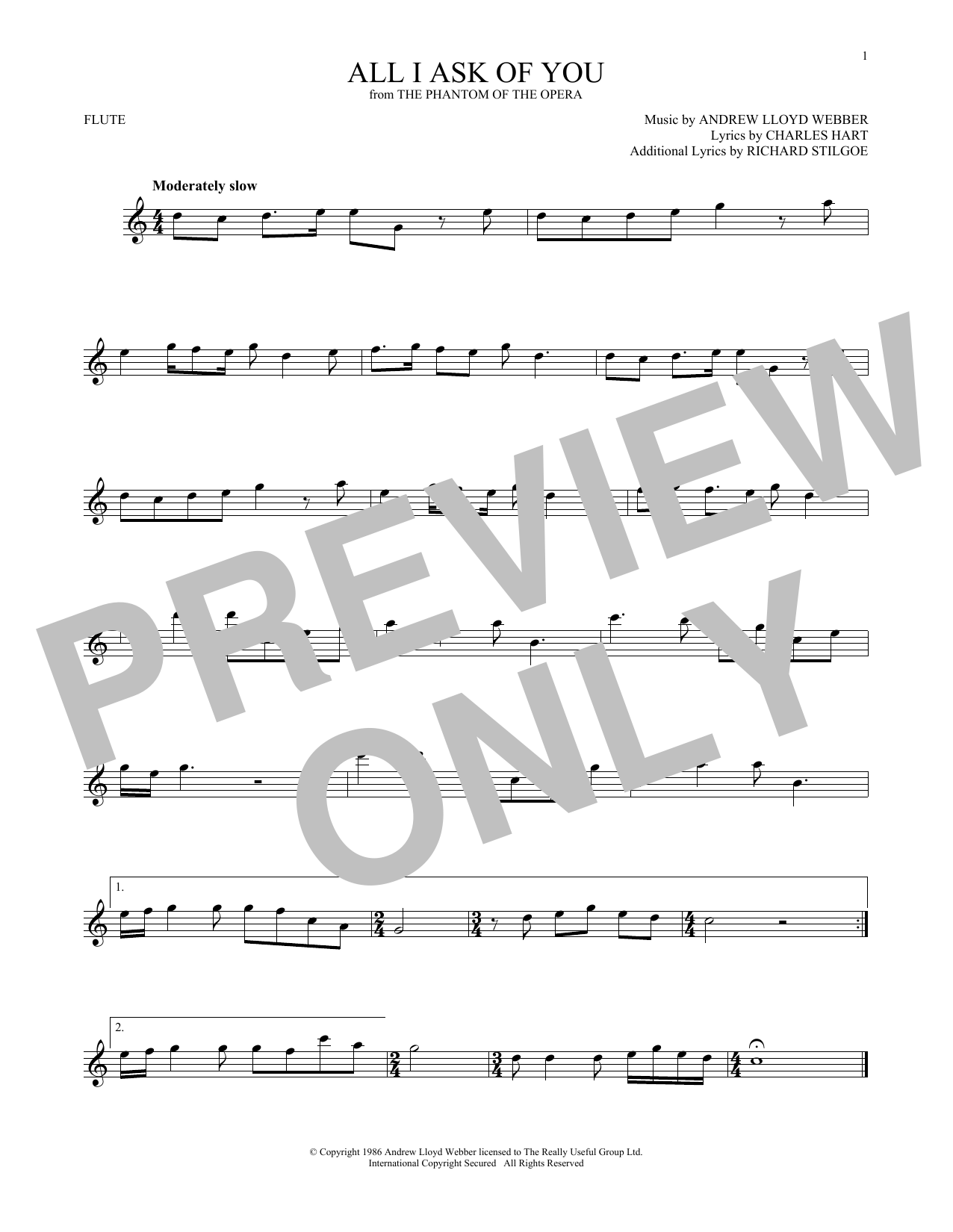 All I Ask Of You (from The Phantom Of The Opera) (Flute Solo)