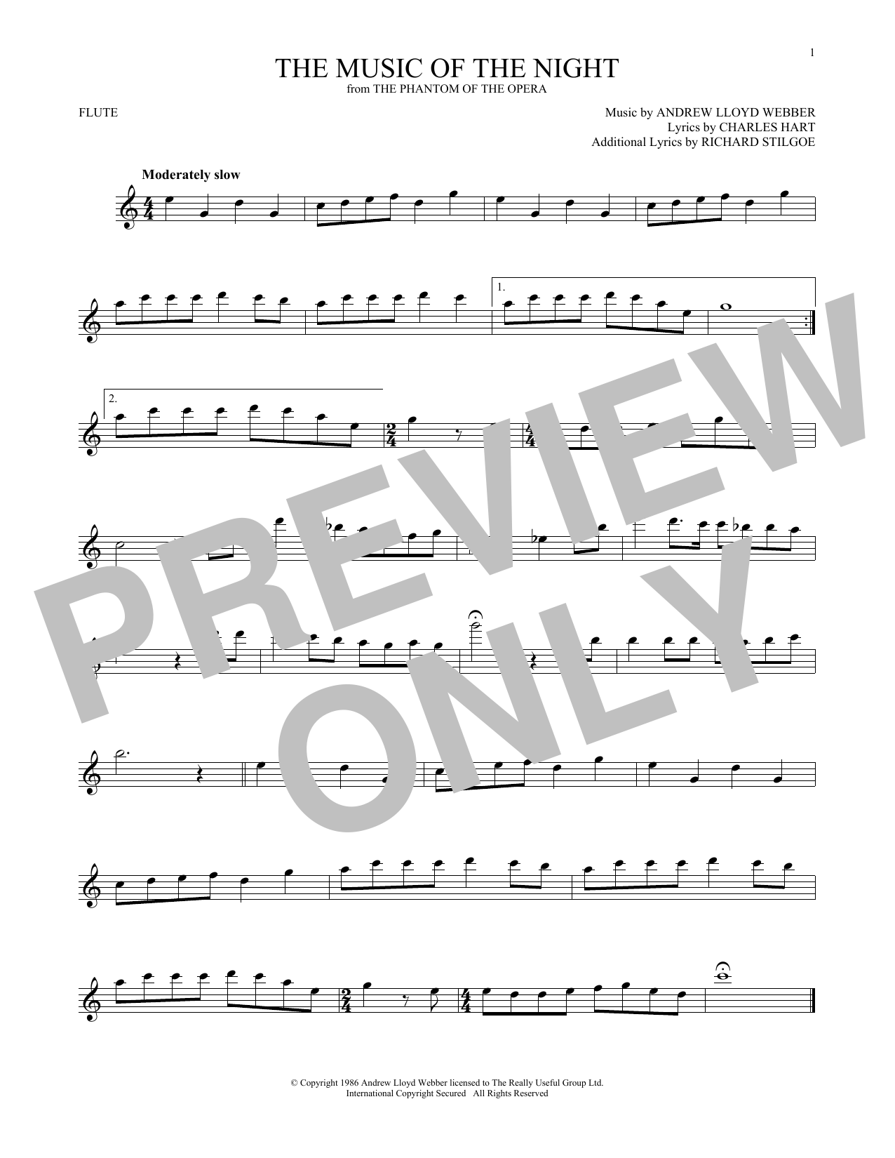 The Music Of The Night (from The Phantom Of The Opera) (Flute Solo)