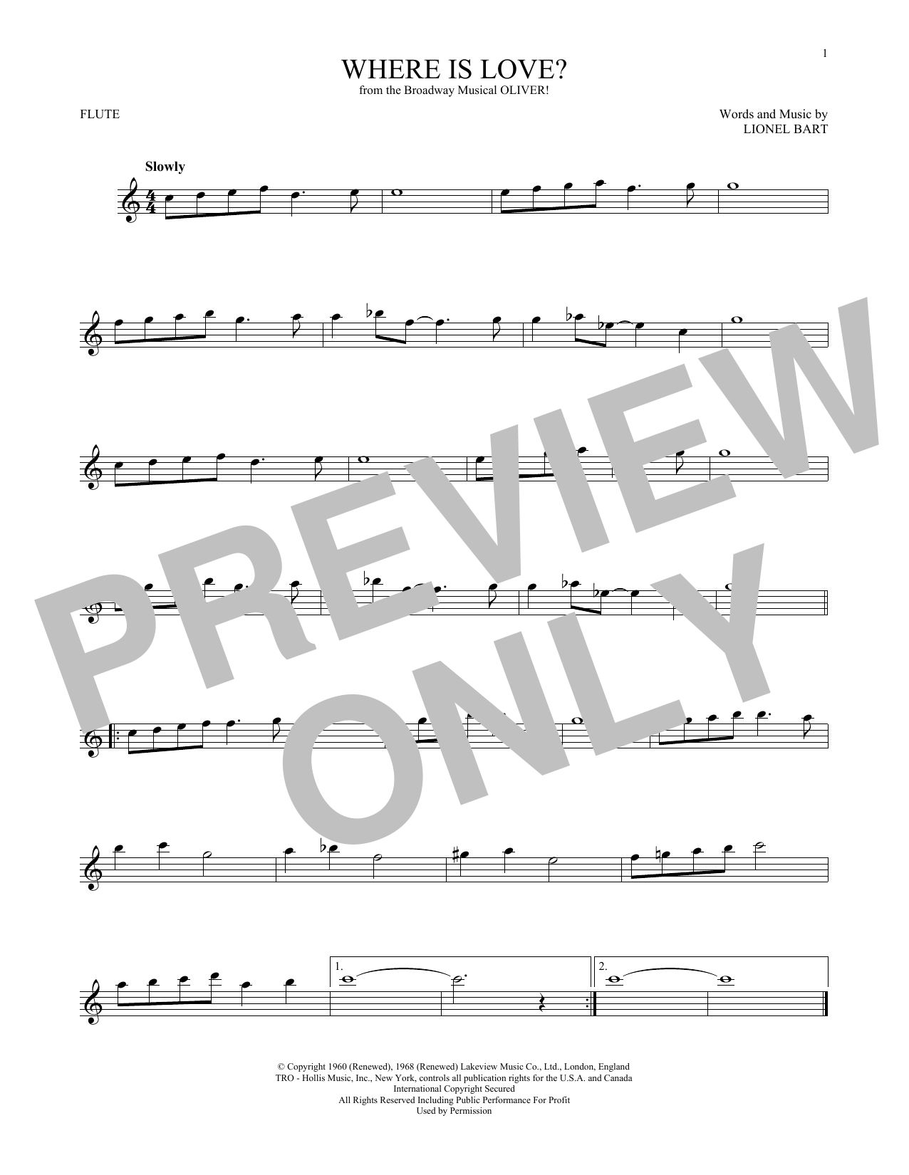 Where Is Love? (Flute Solo)