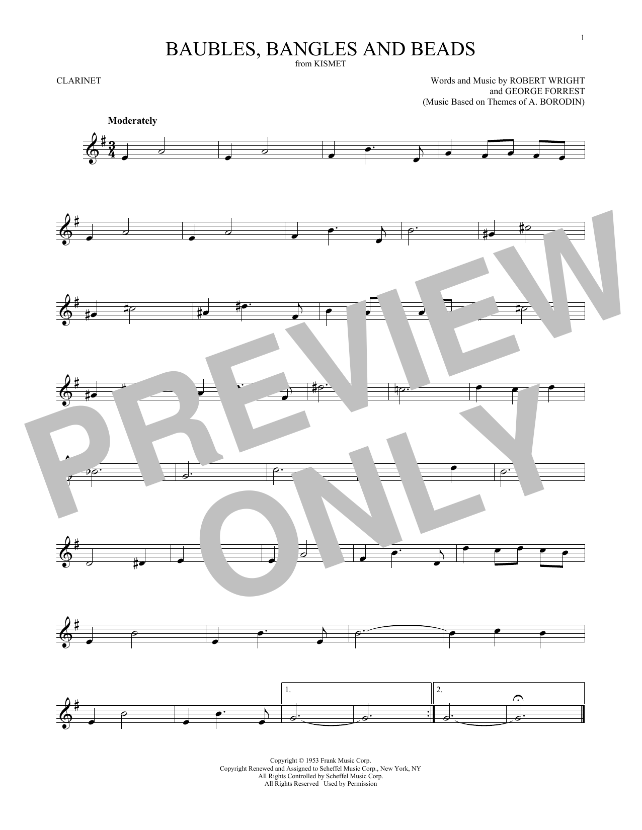 Baubles, Bangles And Beads (Clarinet Solo) - Print Sheet Music Now