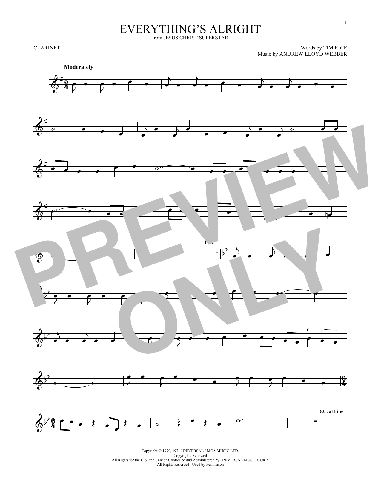 Everything's Alright (from Jesus Christ Superstar) (Clarinet Solo)