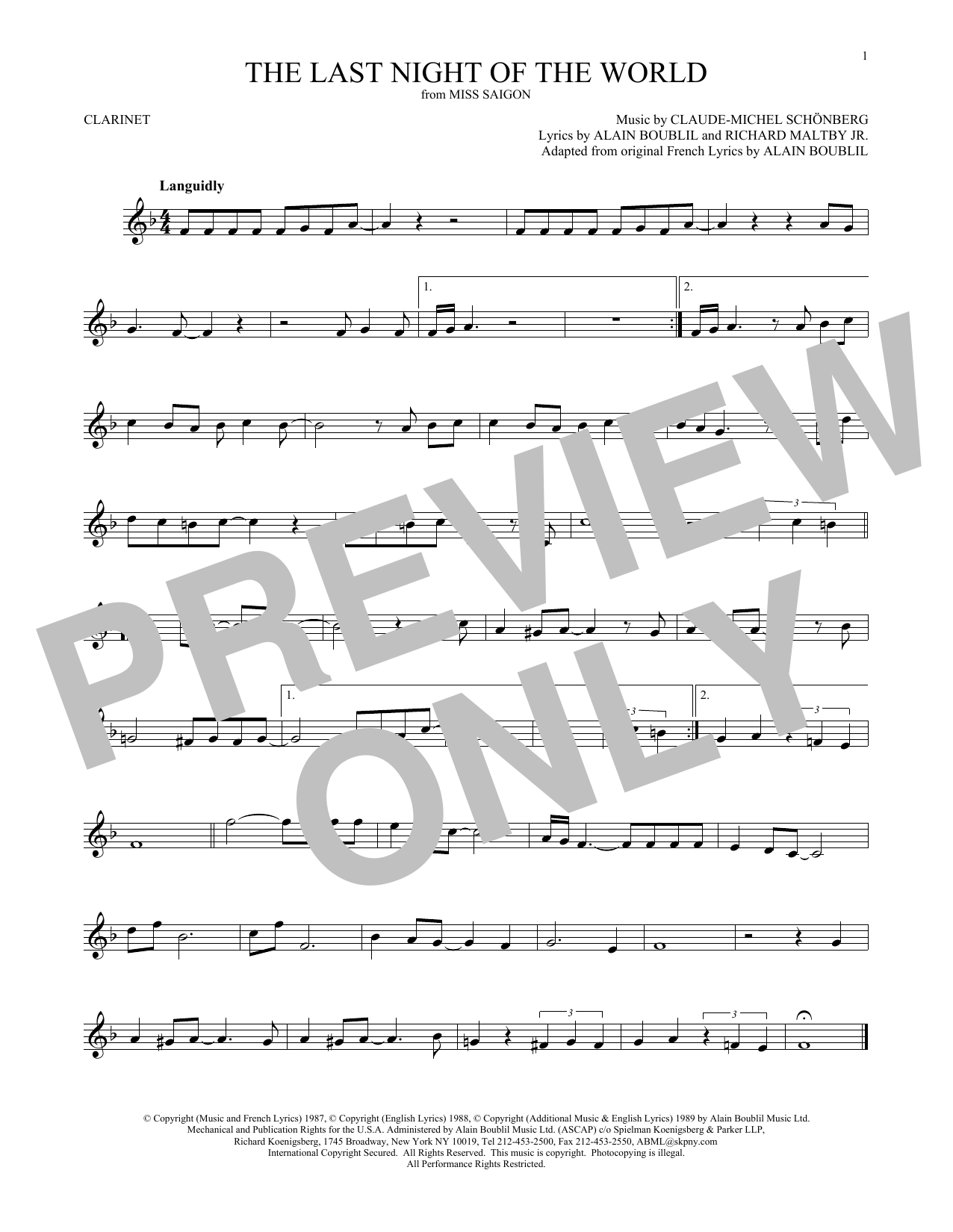 The Last Night Of The World (from Miss Saigon) (Clarinet Solo)