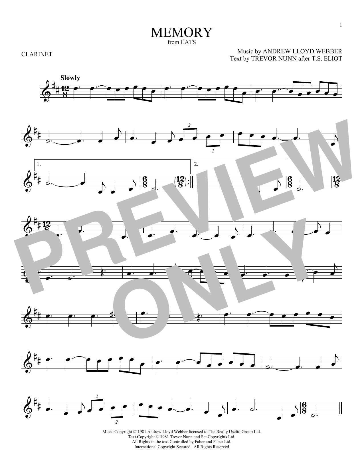 Memory (from Cats) (Clarinet Solo)