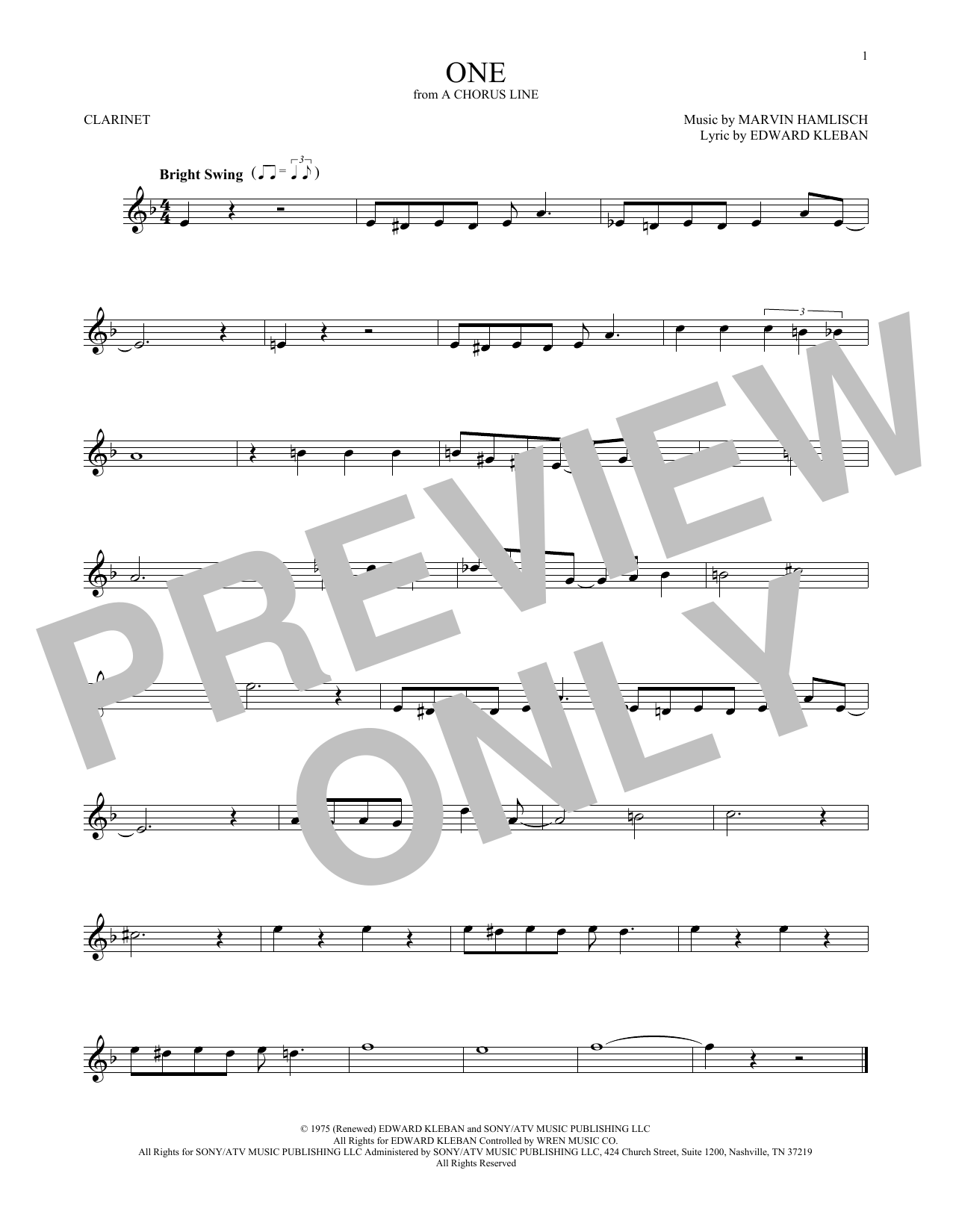 One (Clarinet Solo)