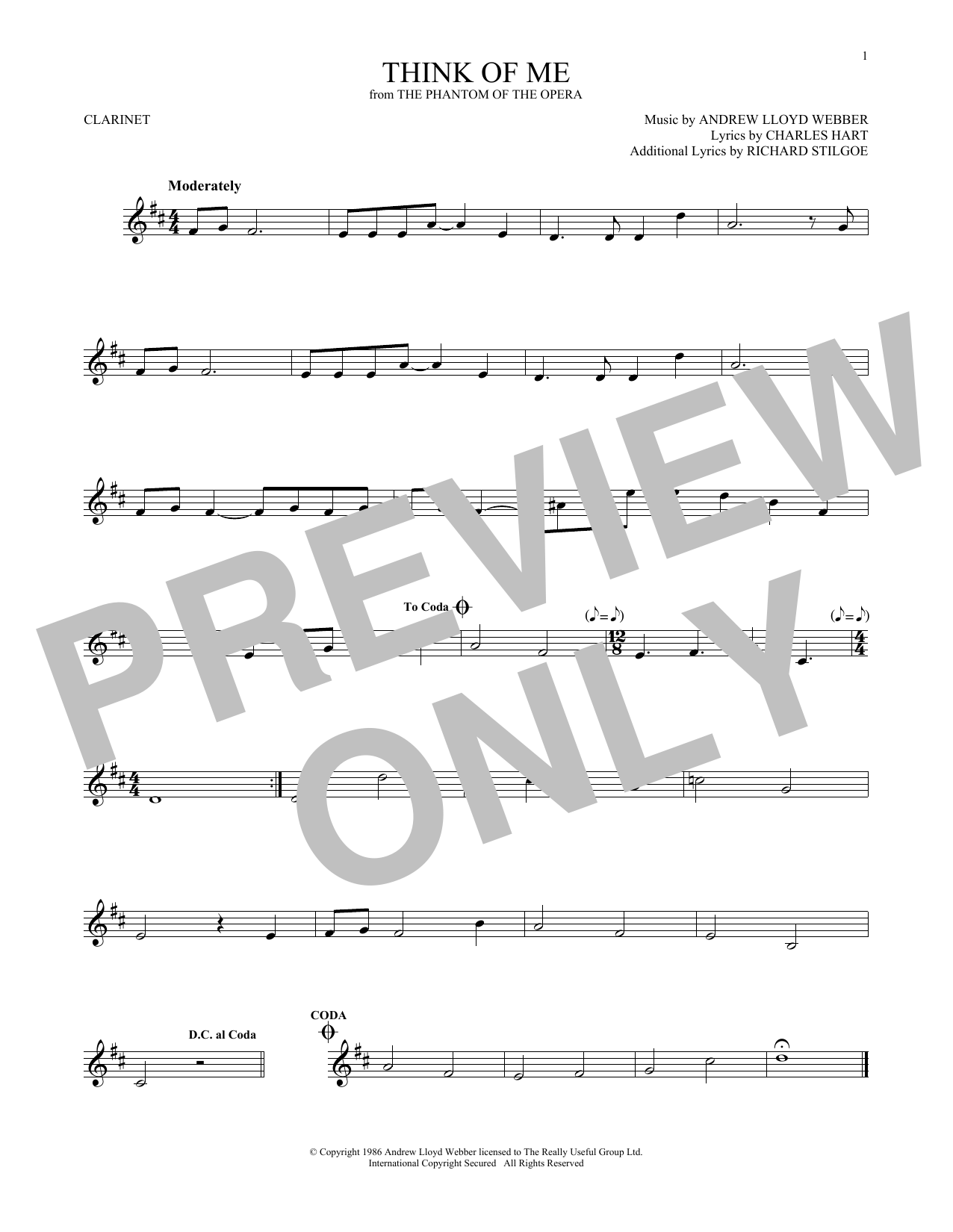 Think Of Me (from The Phantom Of The Opera) (Clarinet Solo)