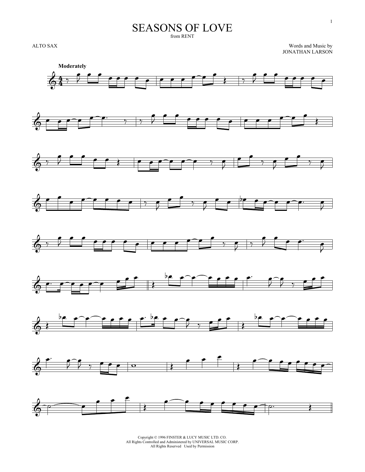 Seasons Of Love (from Rent) (Alto Sax Solo)