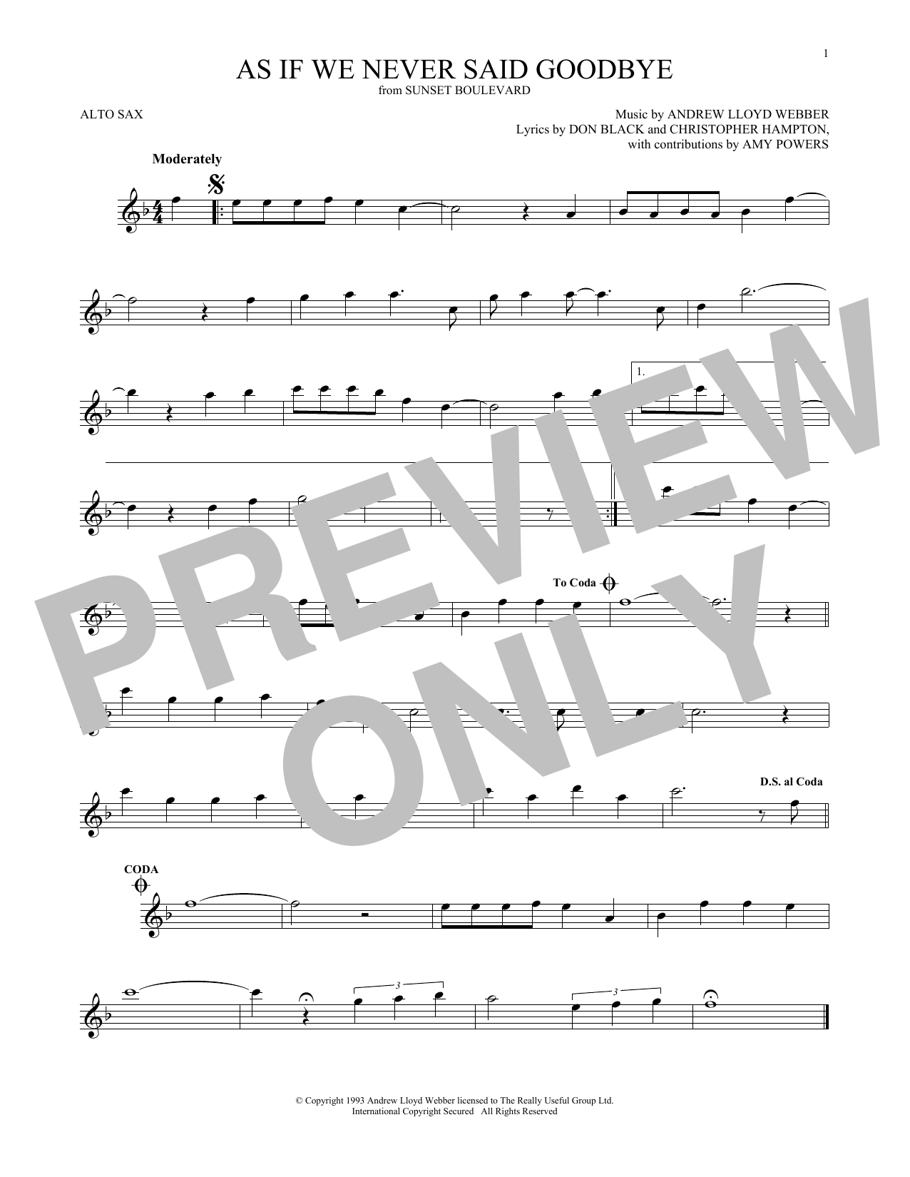As If We Never Said Goodbye (from Sunset Boulevard) (Alto Sax Solo)