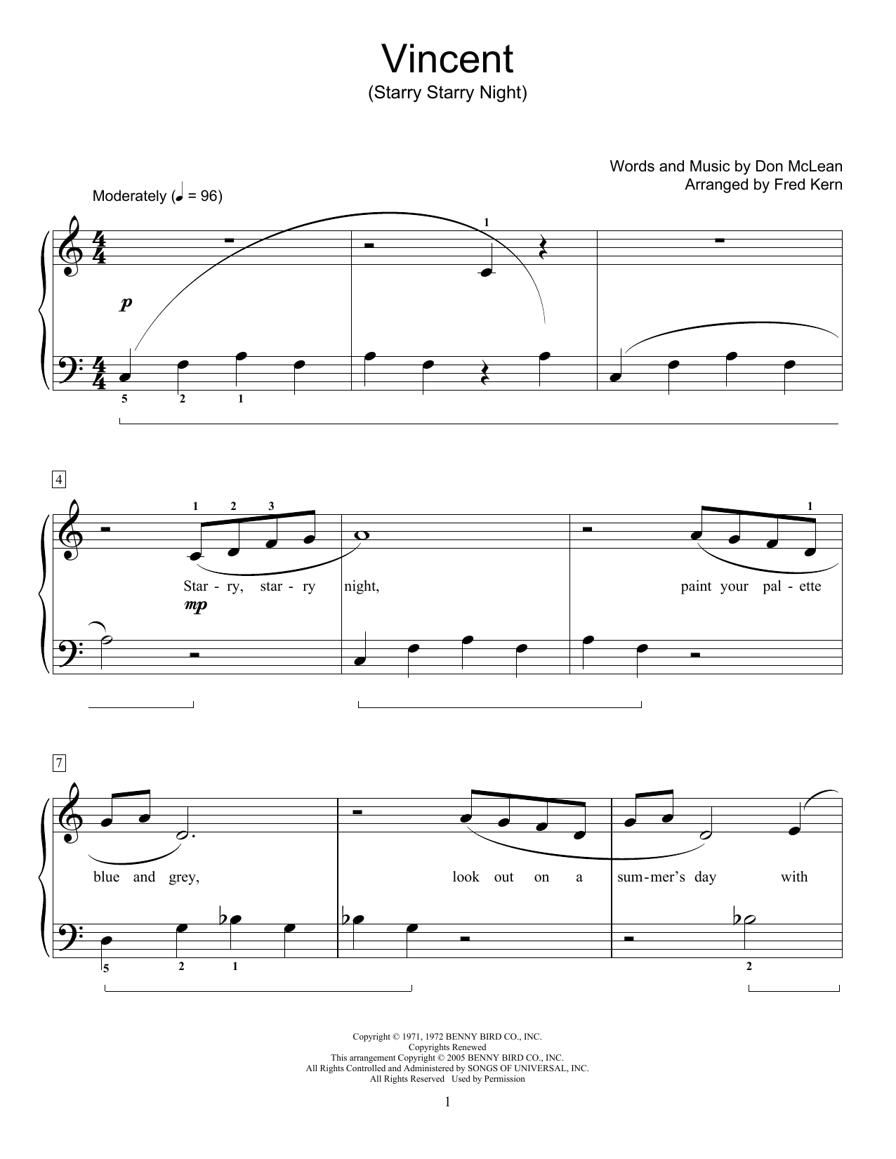 Vincent (Starry Starry Night) Sheet Music