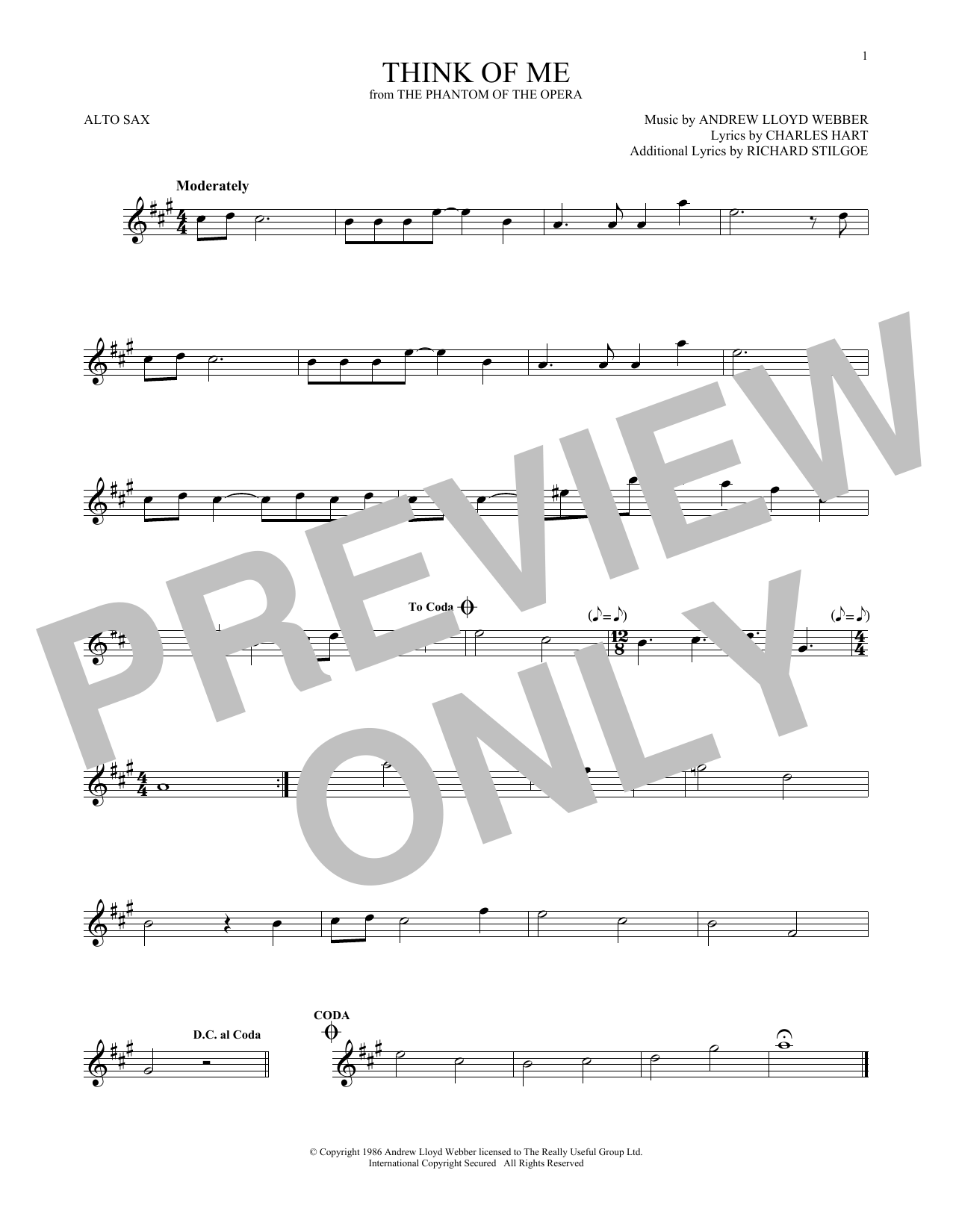 Think Of Me (from The Phantom Of The Opera) (Alto Sax Solo)