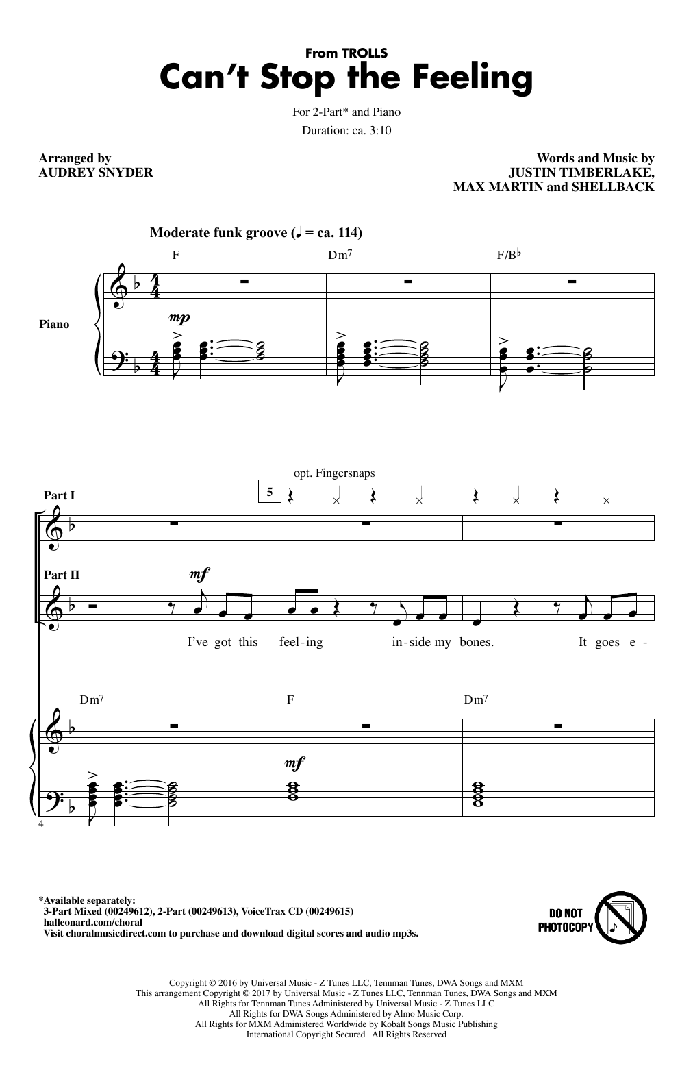 Can't Stop The Feeling (from Trolls) (arr. Audrey Snyder) Sheet Music