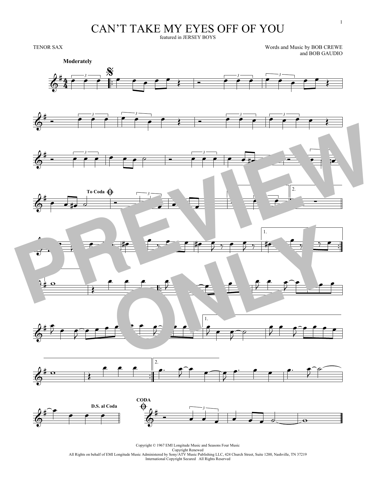 Can't Take My Eyes Off Of You (from Jersey Boys) (Tenor Sax Solo)