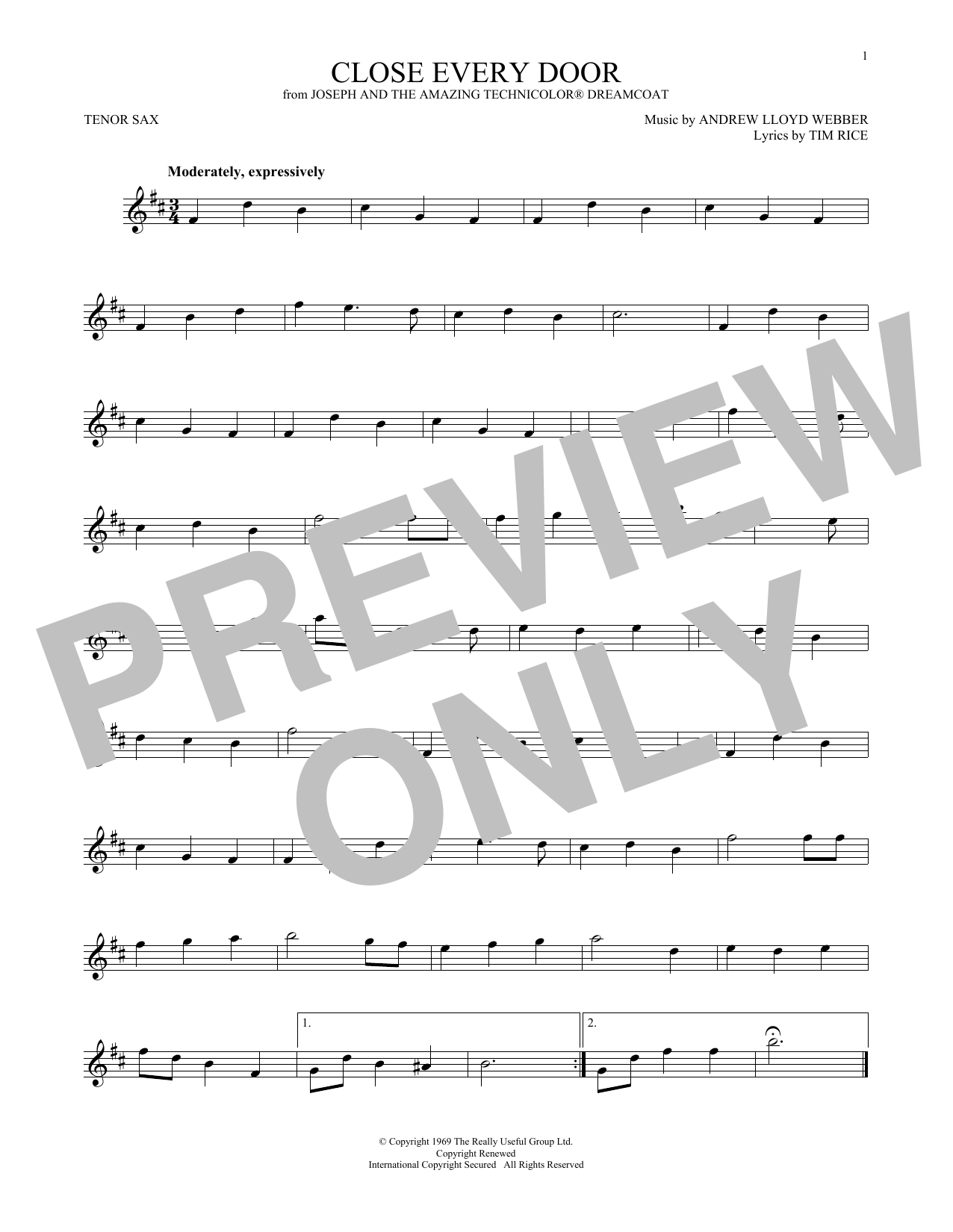 Close Every Door (from Joseph and the Amazing Technicolor Dreamcoat) (Tenor Sax Solo)