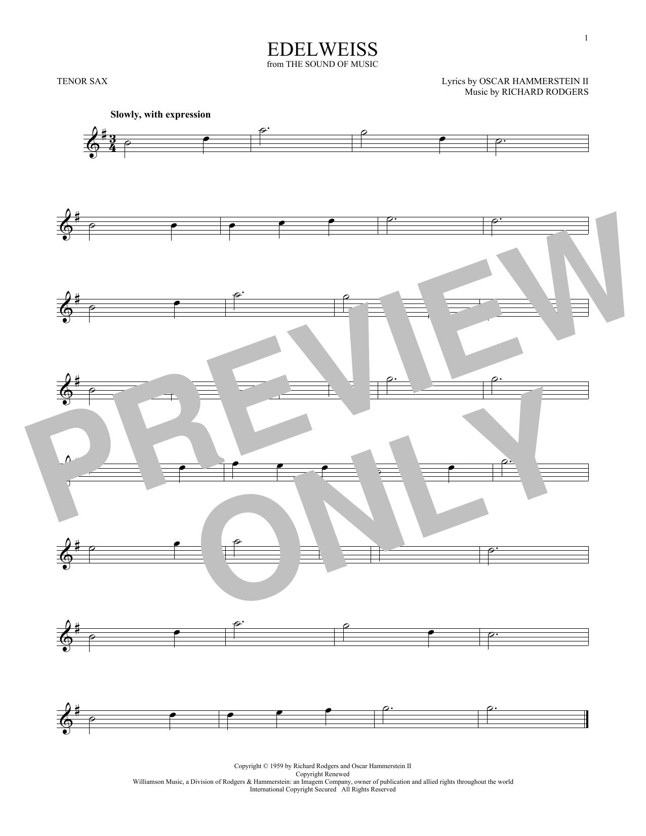 Edelweiss (Tenor Sax Solo)