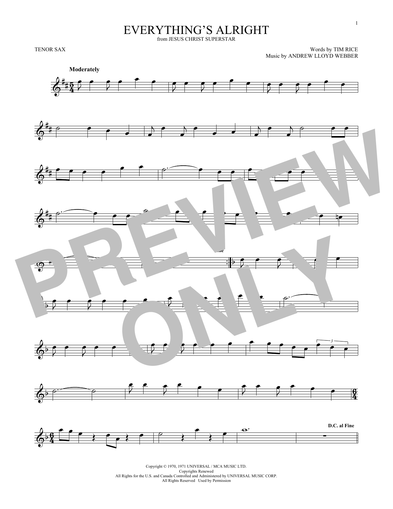 Everything's Alright (from Jesus Christ Superstar) (Tenor Sax Solo)