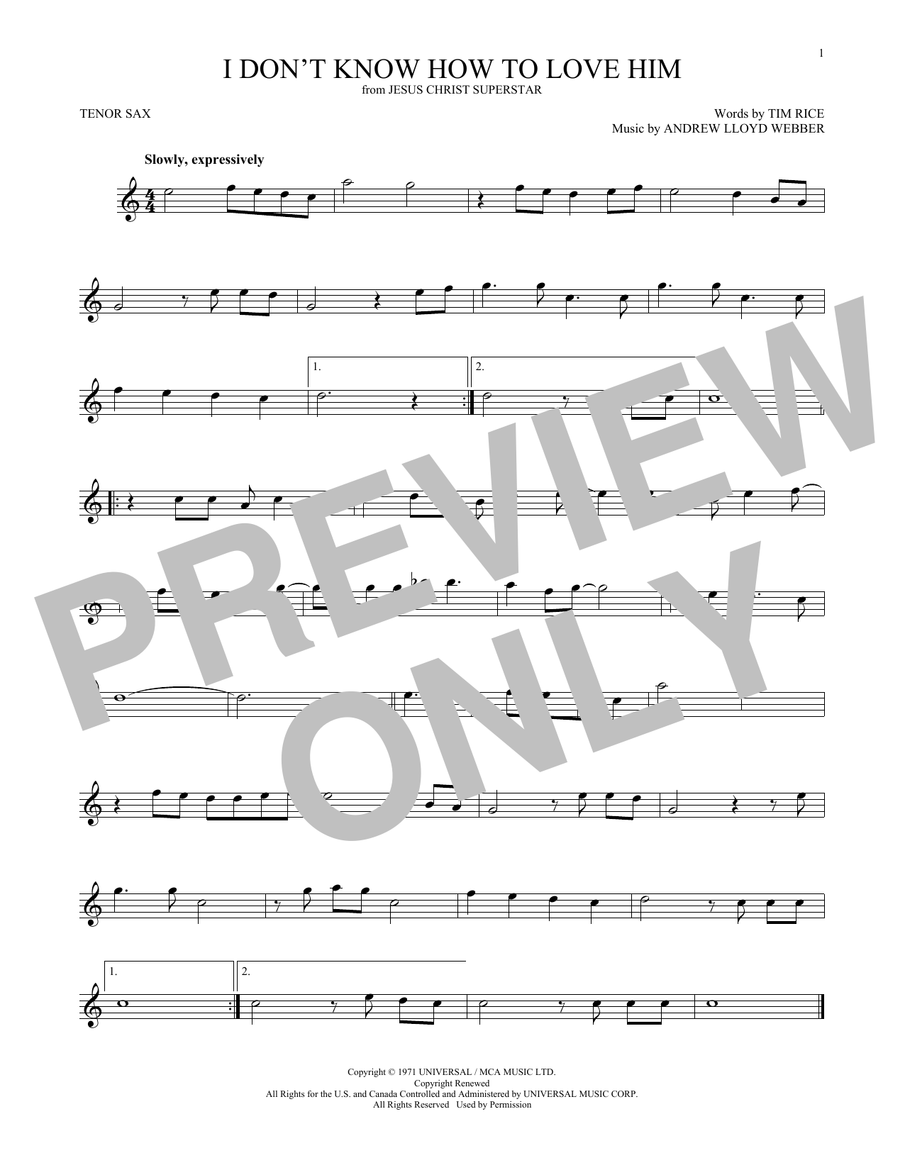 I Don't Know How To Love Him (from Jesus Christ Superstar) (Tenor Sax Solo)