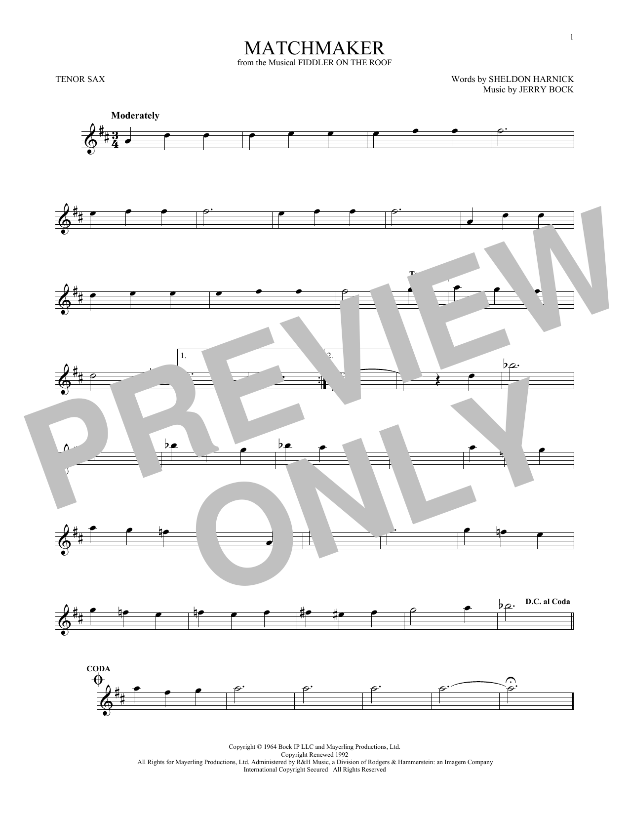 Matchmaker (from Fiddler On The Roof) (Tenor Sax Solo)