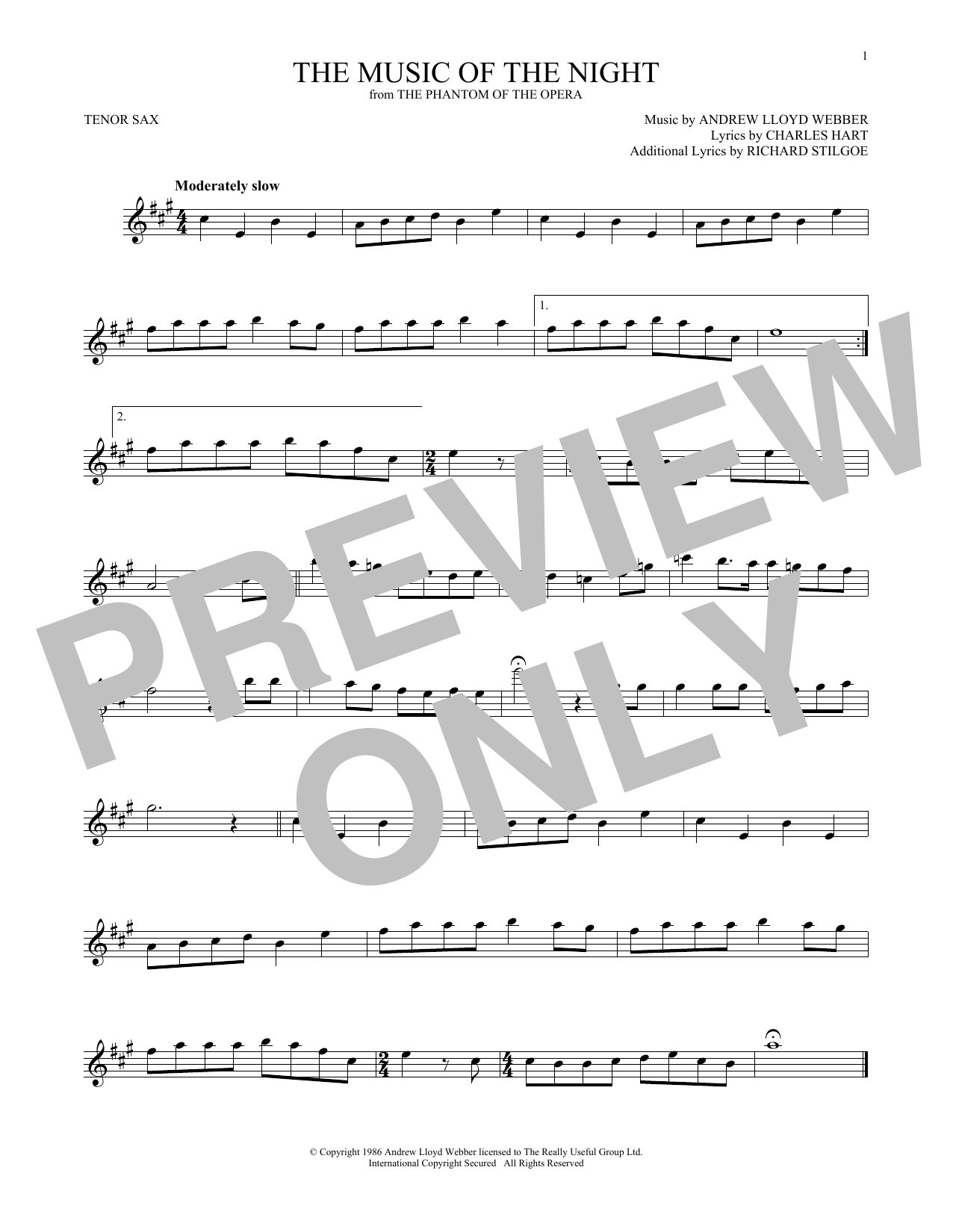 The Music Of The Night (from The Phantom Of The Opera) (Tenor Sax Solo)