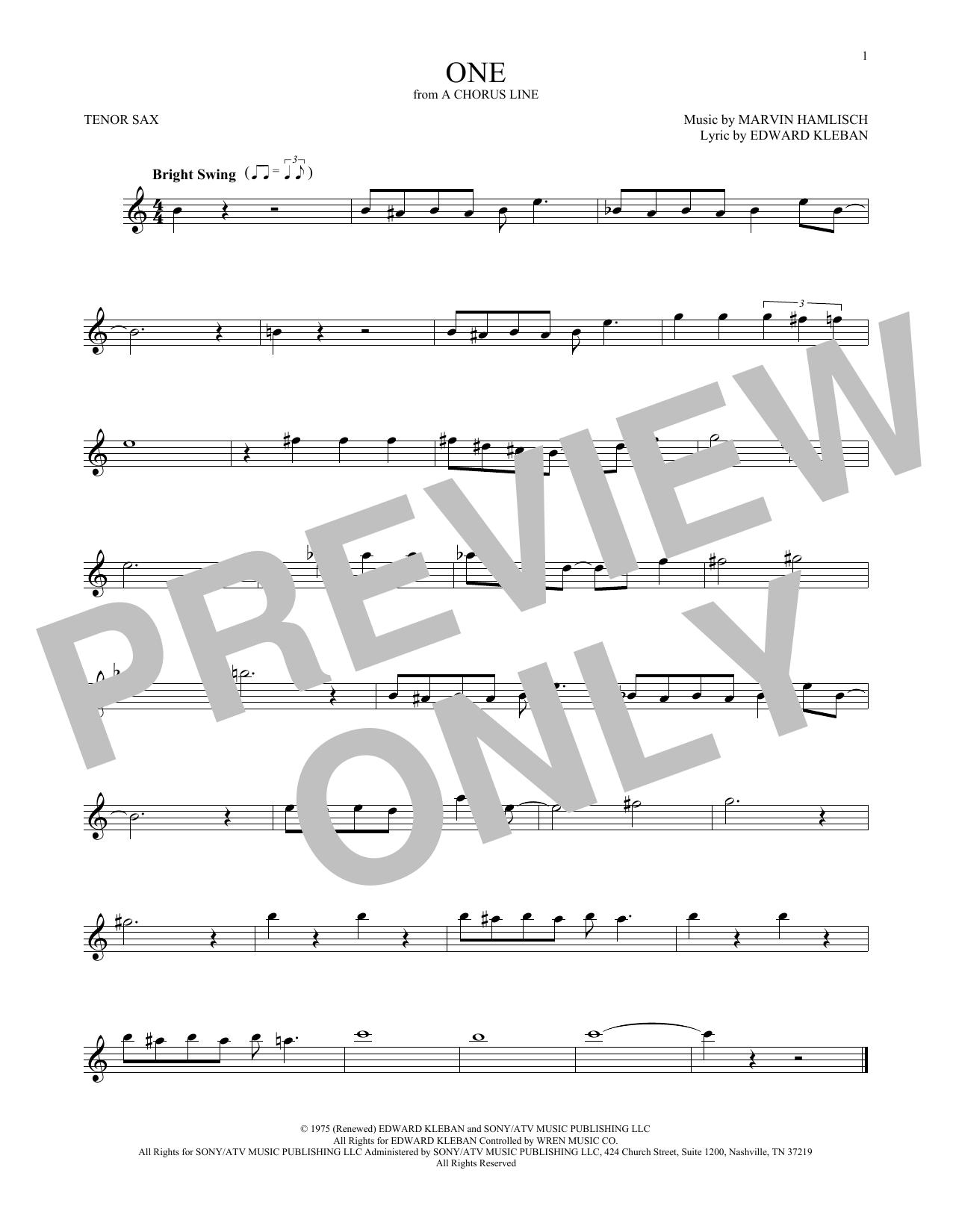 One (Tenor Sax Solo)