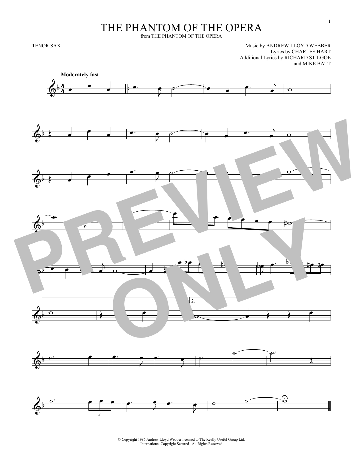 The Phantom Of The Opera (Tenor Sax Solo)