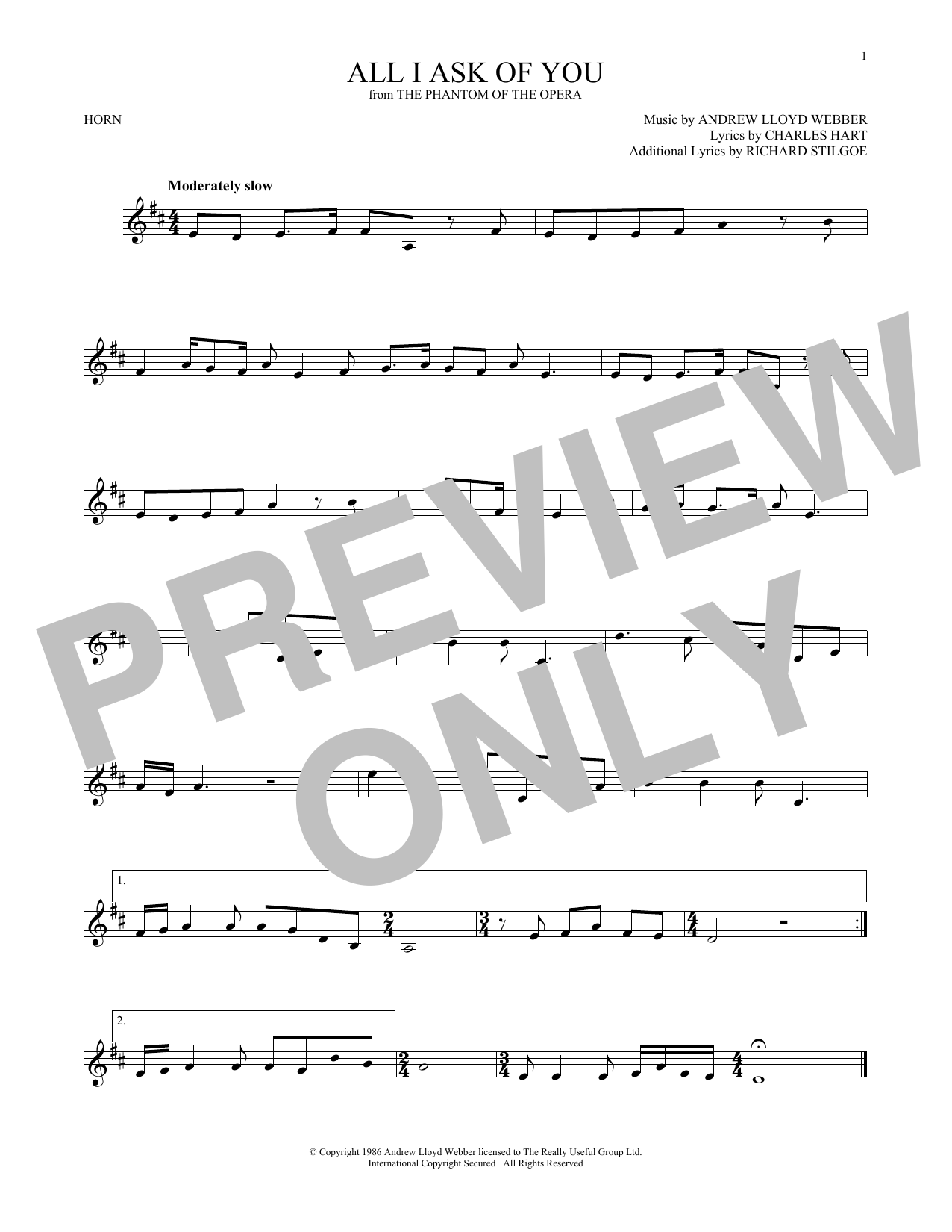 All I Ask Of You (French Horn Solo)