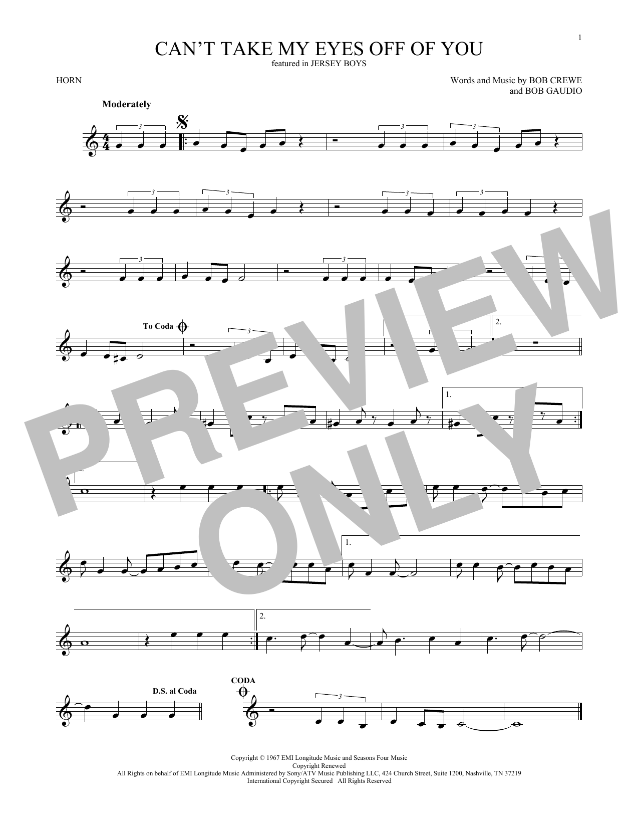 Can't Take My Eyes Off Of You (from Jersey Boys) (French Horn Solo)