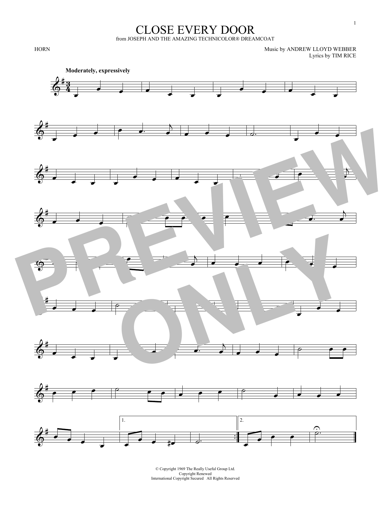 Close Every Door (from Joseph and the Amazing Technicolor Dreamcoat) (French Horn Solo)