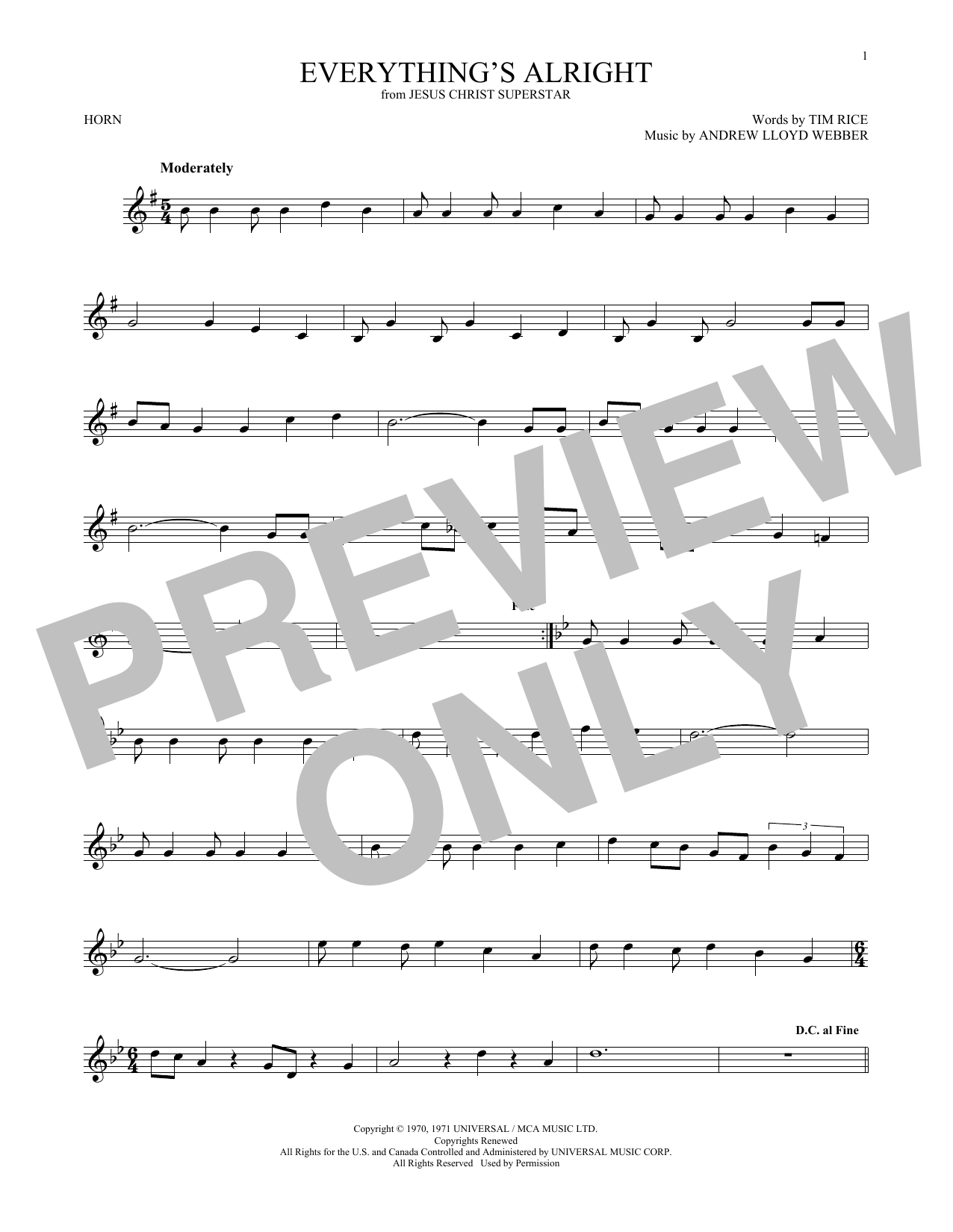 Everything's Alright (from Jesus Christ Superstar) (French Horn Solo)