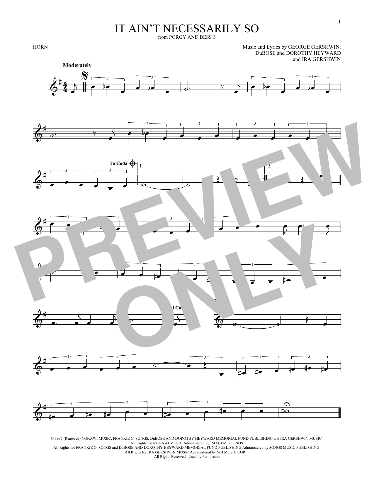 It Ain't Necessarily So (French Horn Solo)