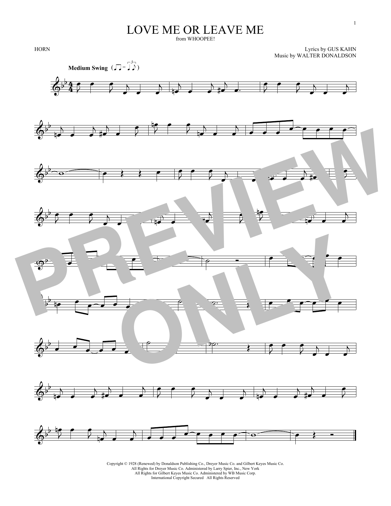 Love Me Or Leave Me (French Horn Solo)