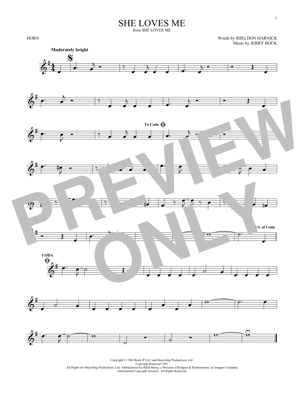 She Loves Me (French Horn Solo)
