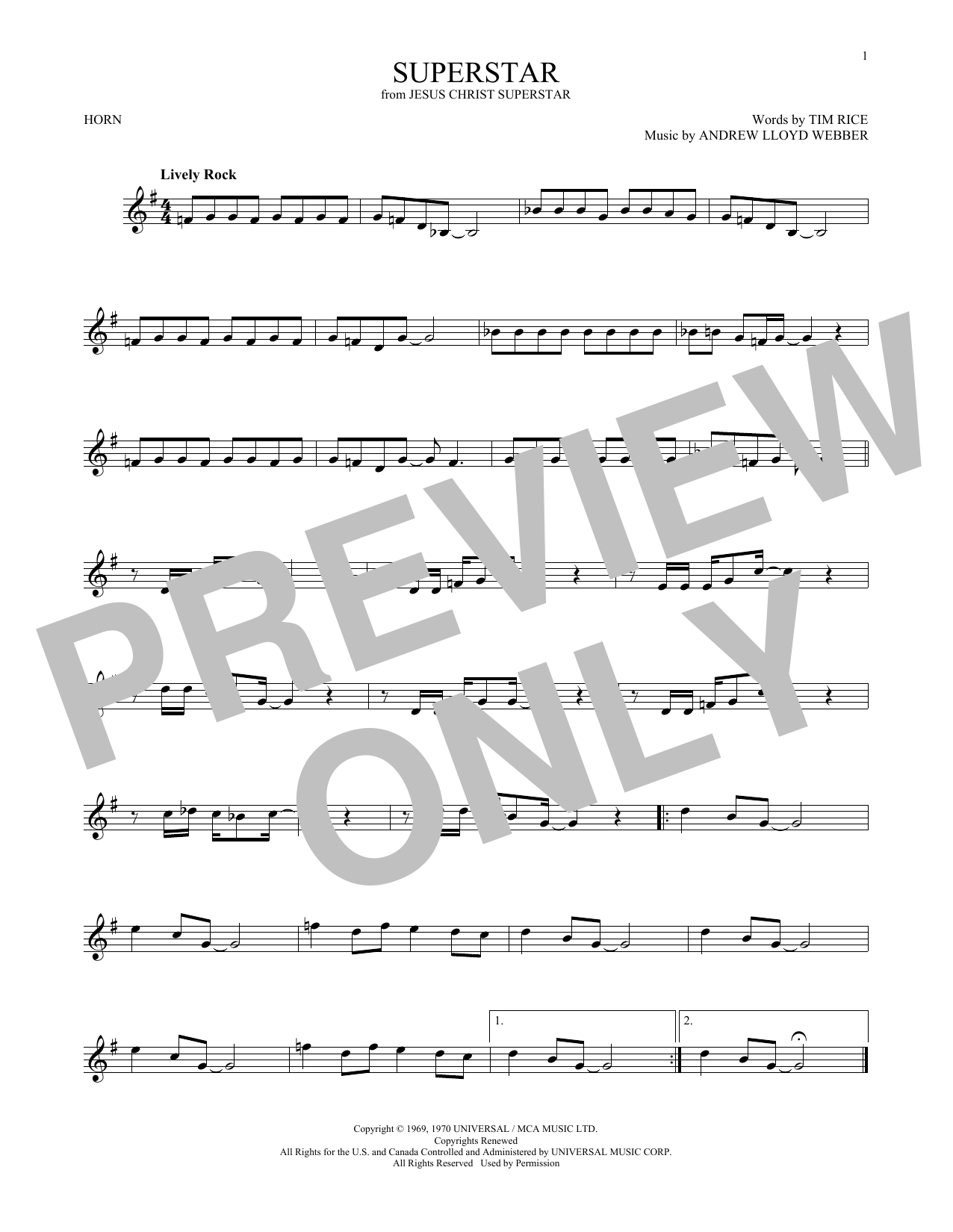 Superstar (from Jesus Christ Superstar) (French Horn Solo)