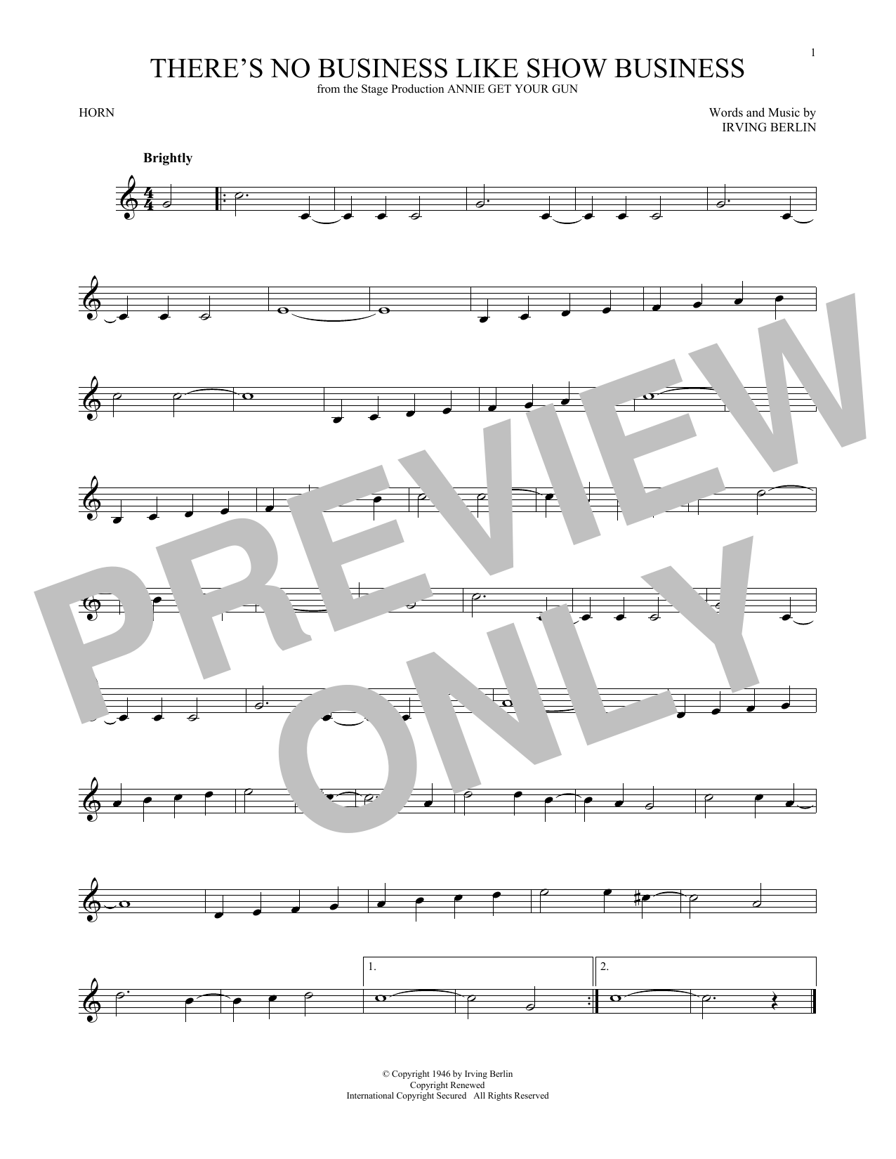 There's No Business Like Show Business (French Horn Solo)