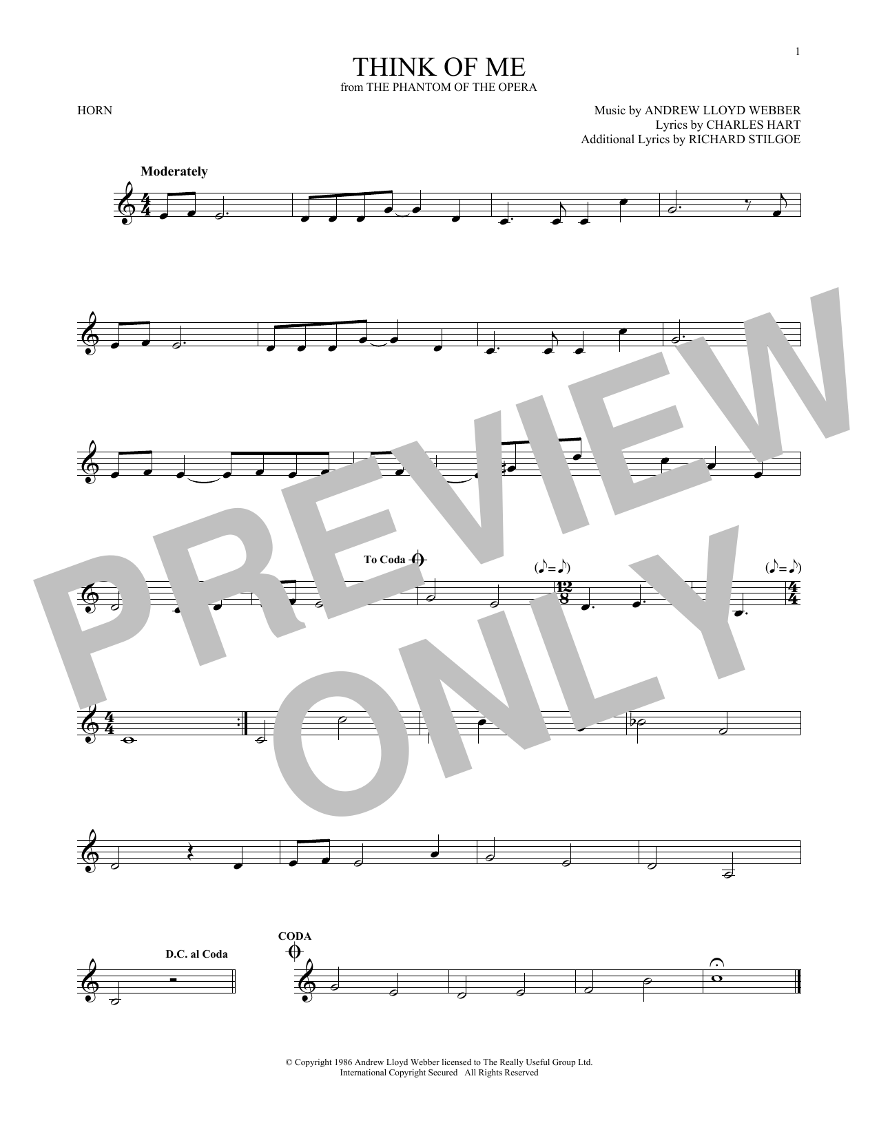 Think Of Me (from The Phantom Of The Opera) (French Horn Solo)