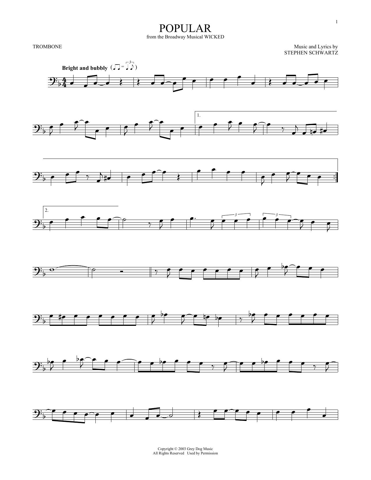Popular (from Wicked) (Trombone Solo)