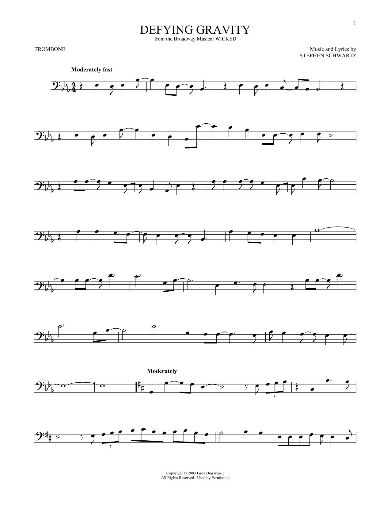 Defying Gravity (from Wicked) (Trombone Solo)