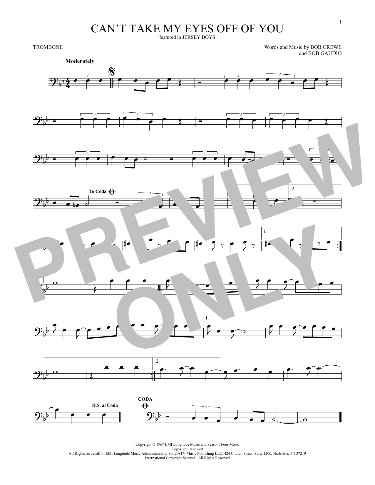 Can't Take My Eyes Off Of You (from Jersey Boys) (Trombone Solo)