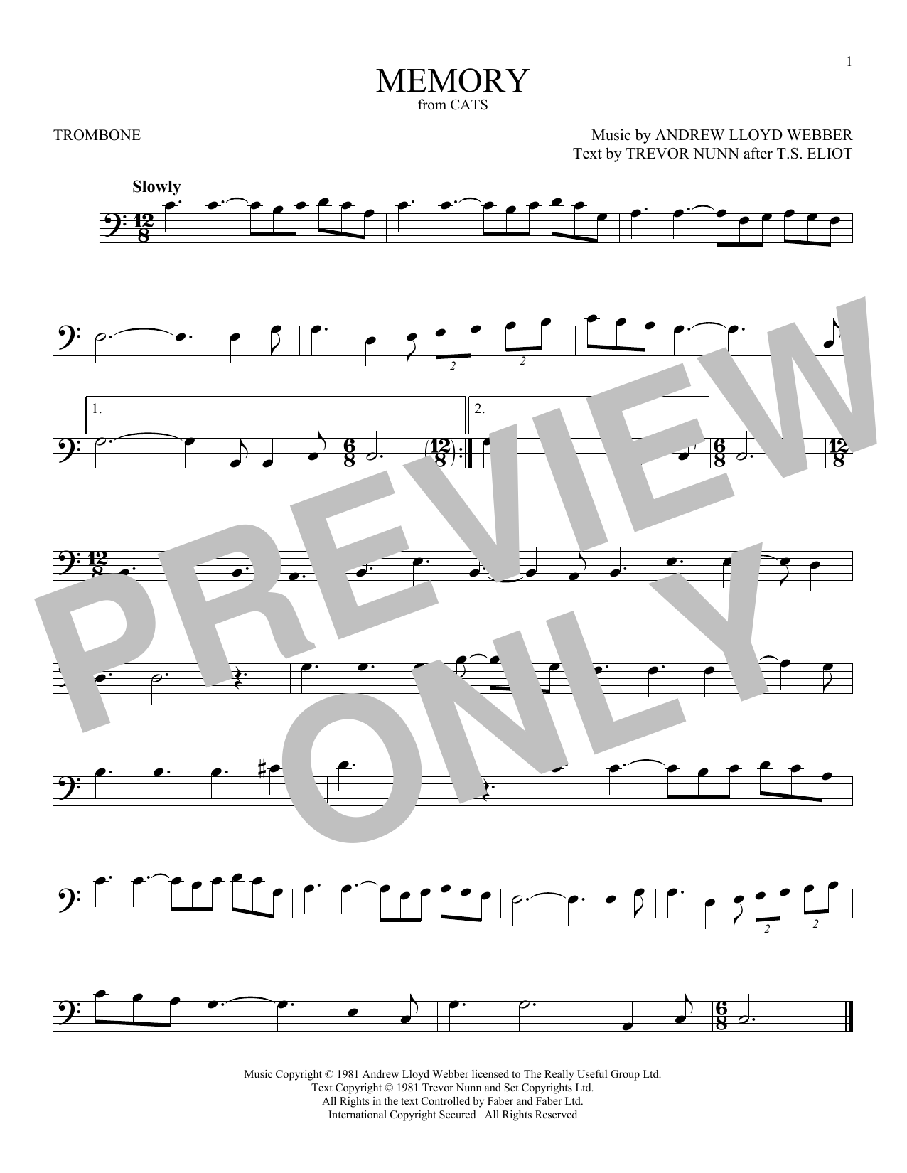 Memory (from Cats) (Trombone Solo)