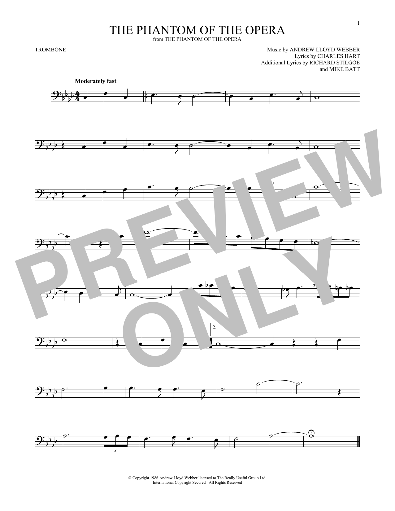 The Phantom Of The Opera (Trombone Solo)