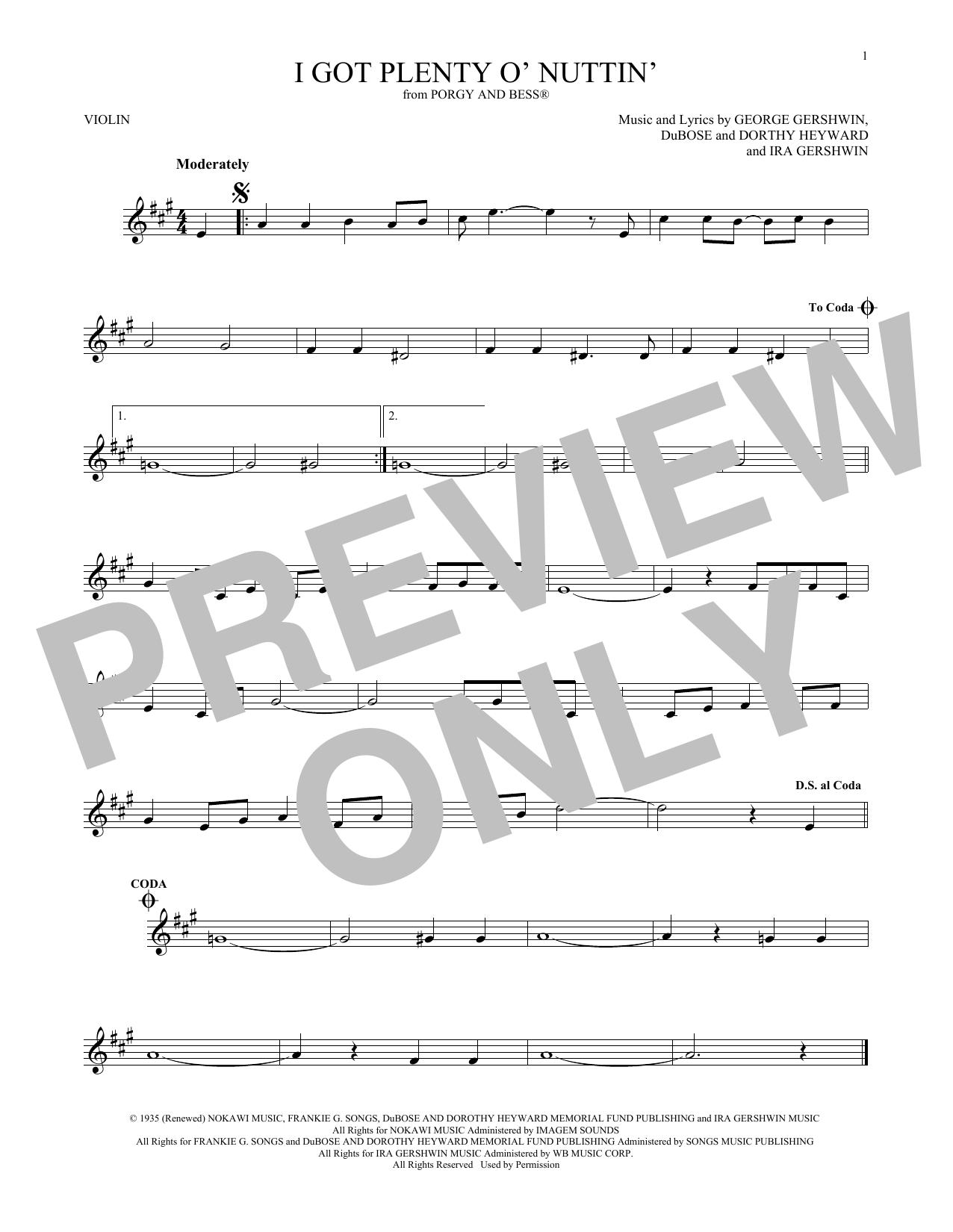 I Got Plenty O' Nuttin' (Violin Solo)
