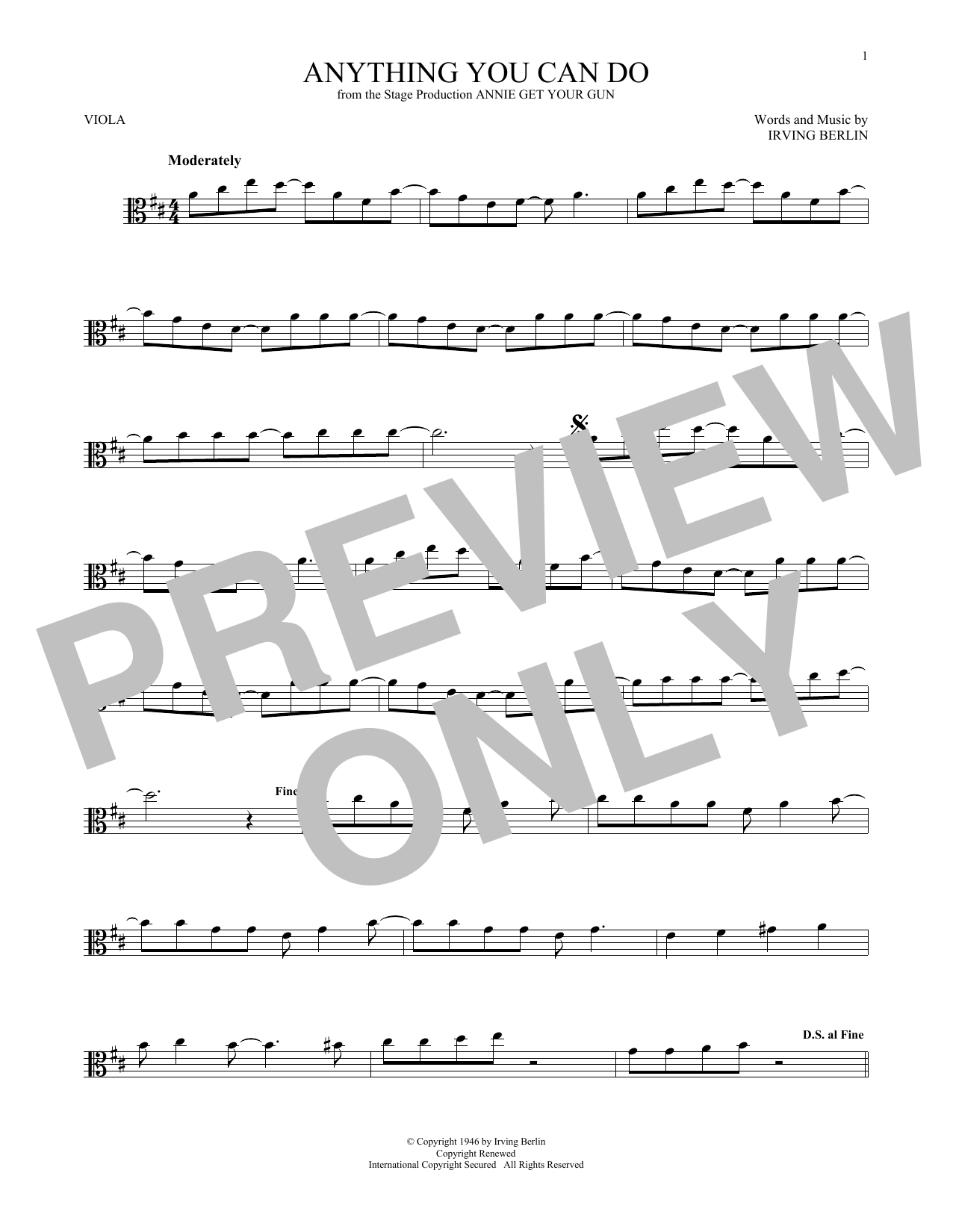 Anything You Can Do (from Annie Get Your Gun) (Viola Solo)