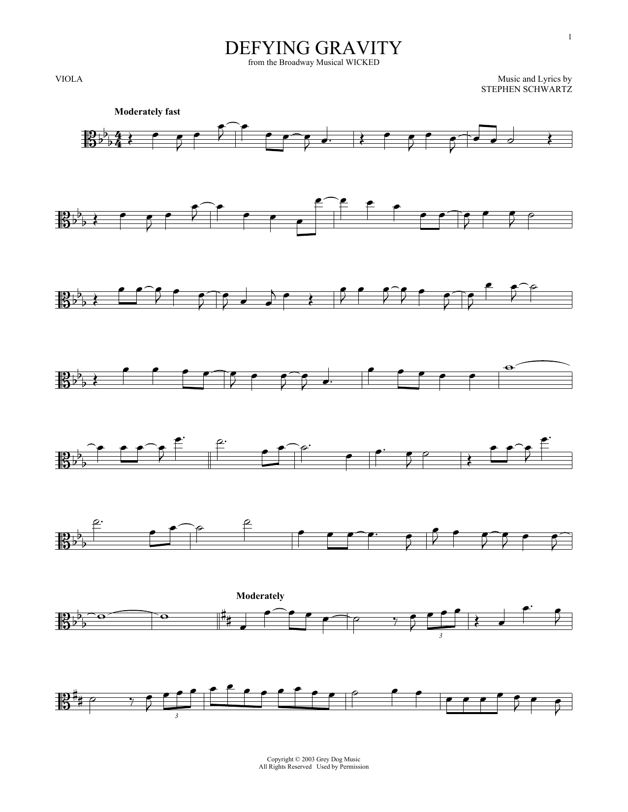 Defying Gravity (from Wicked) (Viola Solo)