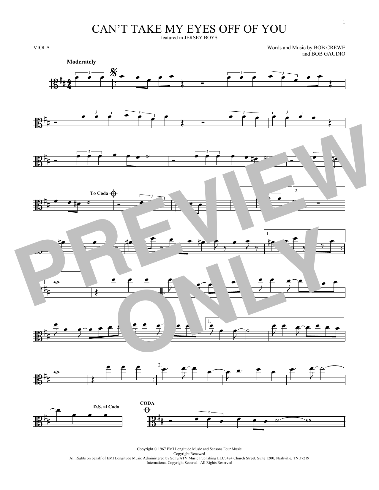 Can't Take My Eyes Off Of You (from Jersey Boys) (Viola Solo)