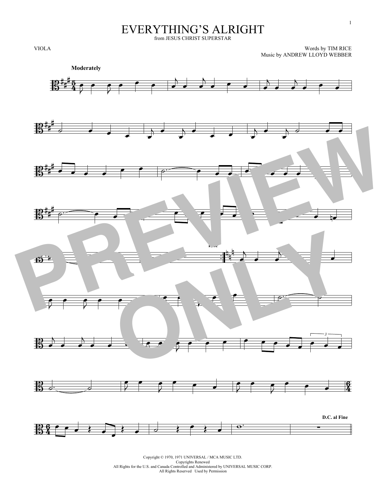 Everything's Alright (from Jesus Christ Superstar) (Viola Solo)