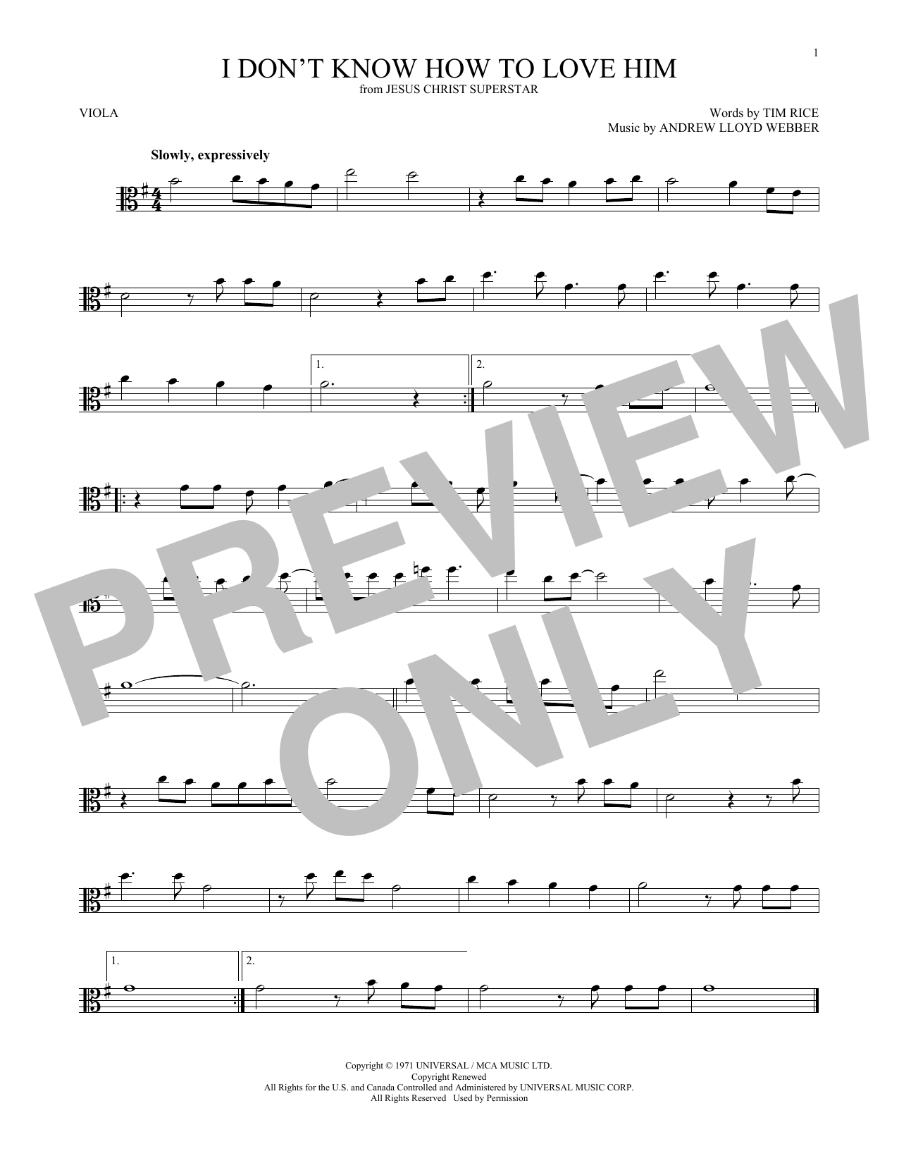 I Don't Know How To Love Him (from Jesus Christ Superstar) (Viola Solo)