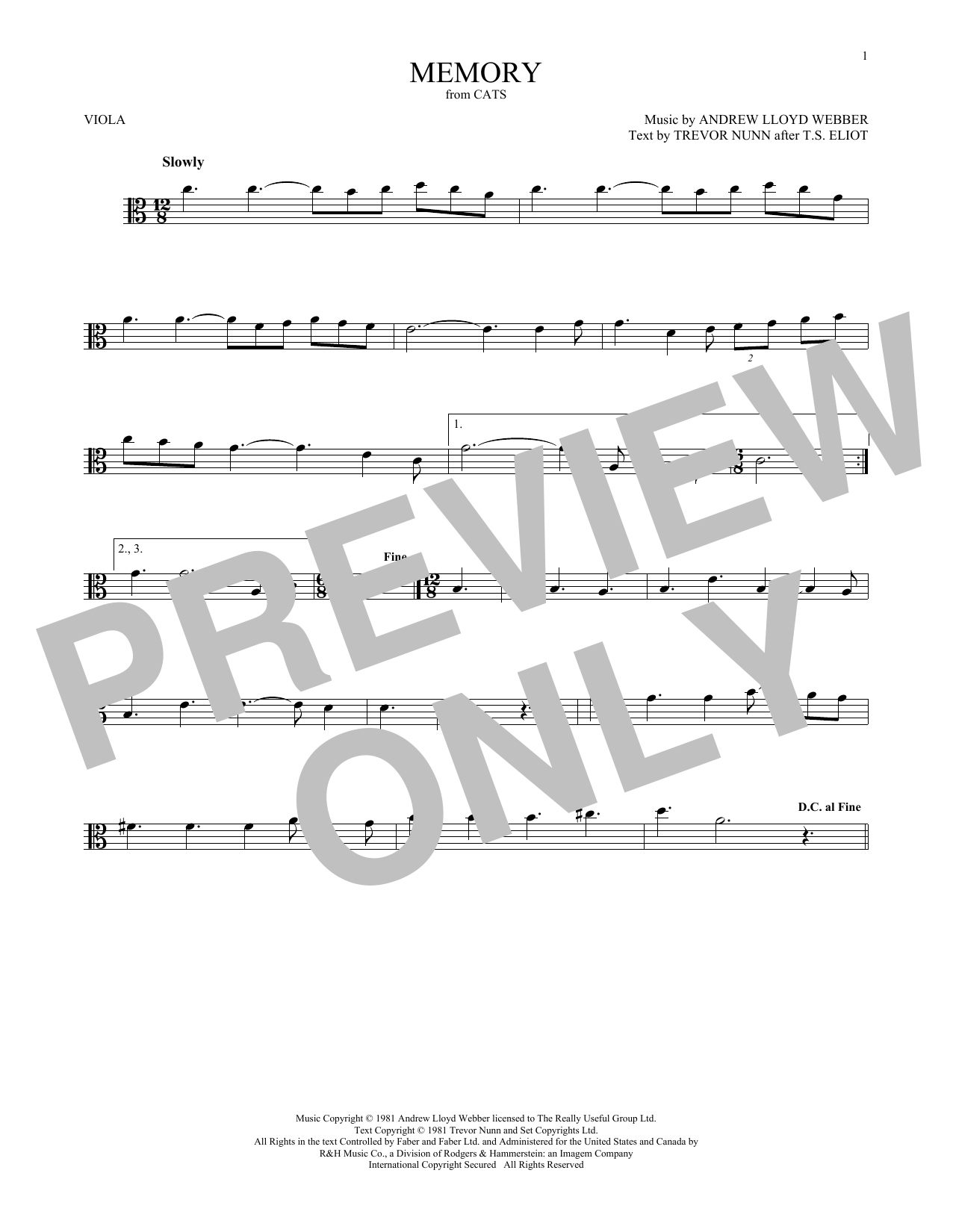 Memory (from Cats) (Viola Solo)