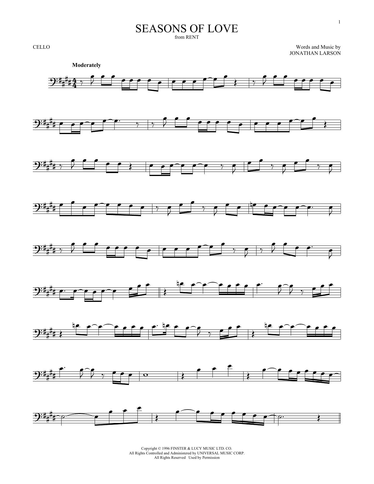 Seasons Of Love (from Rent) (Cello Solo)