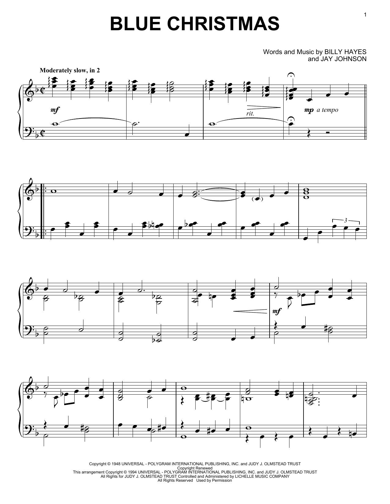 Blue Christmas (Piano Solo)
