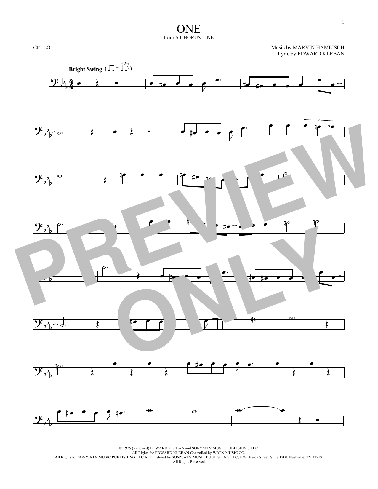One (Cello Solo)