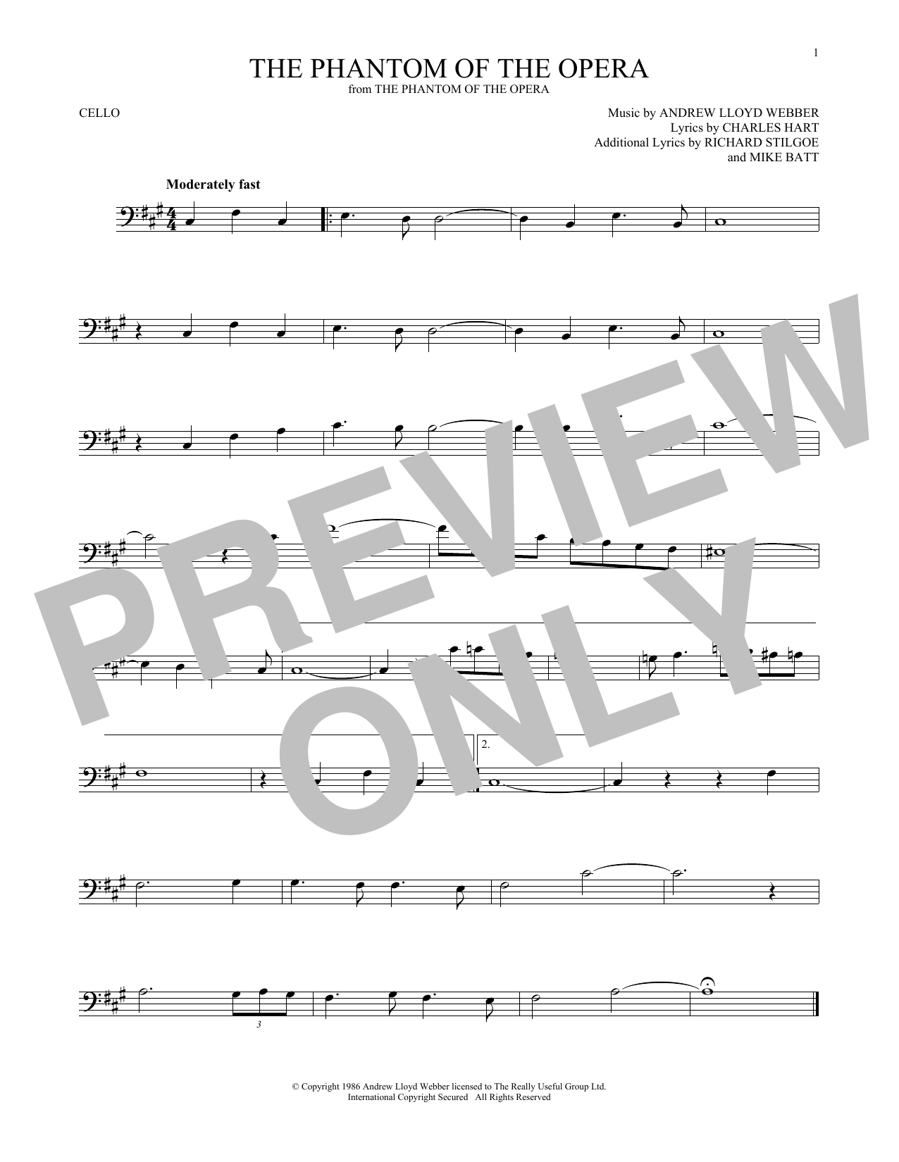 The Phantom Of The Opera (Cello Solo)